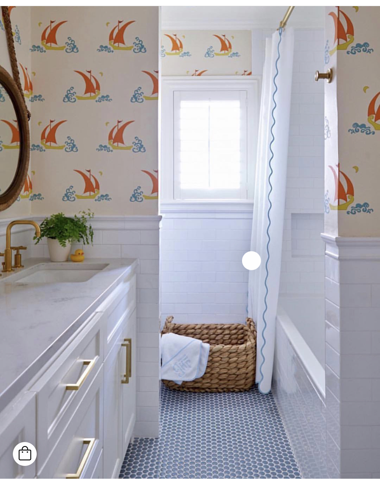 *Kids bath inspiration: Love the penny tile and brass accents. And that fun wallpaper!