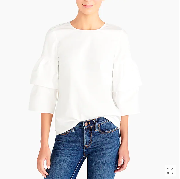 This top is only $10 and I can always use a great basic white blouse with a fun detail like these tiered sleeves . Also comes in black.