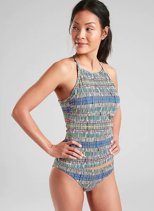 Another cute tankini that has more of an athletic feel to it that also looks like a one piece. I would also include this in the chest coverage category with its high neck.