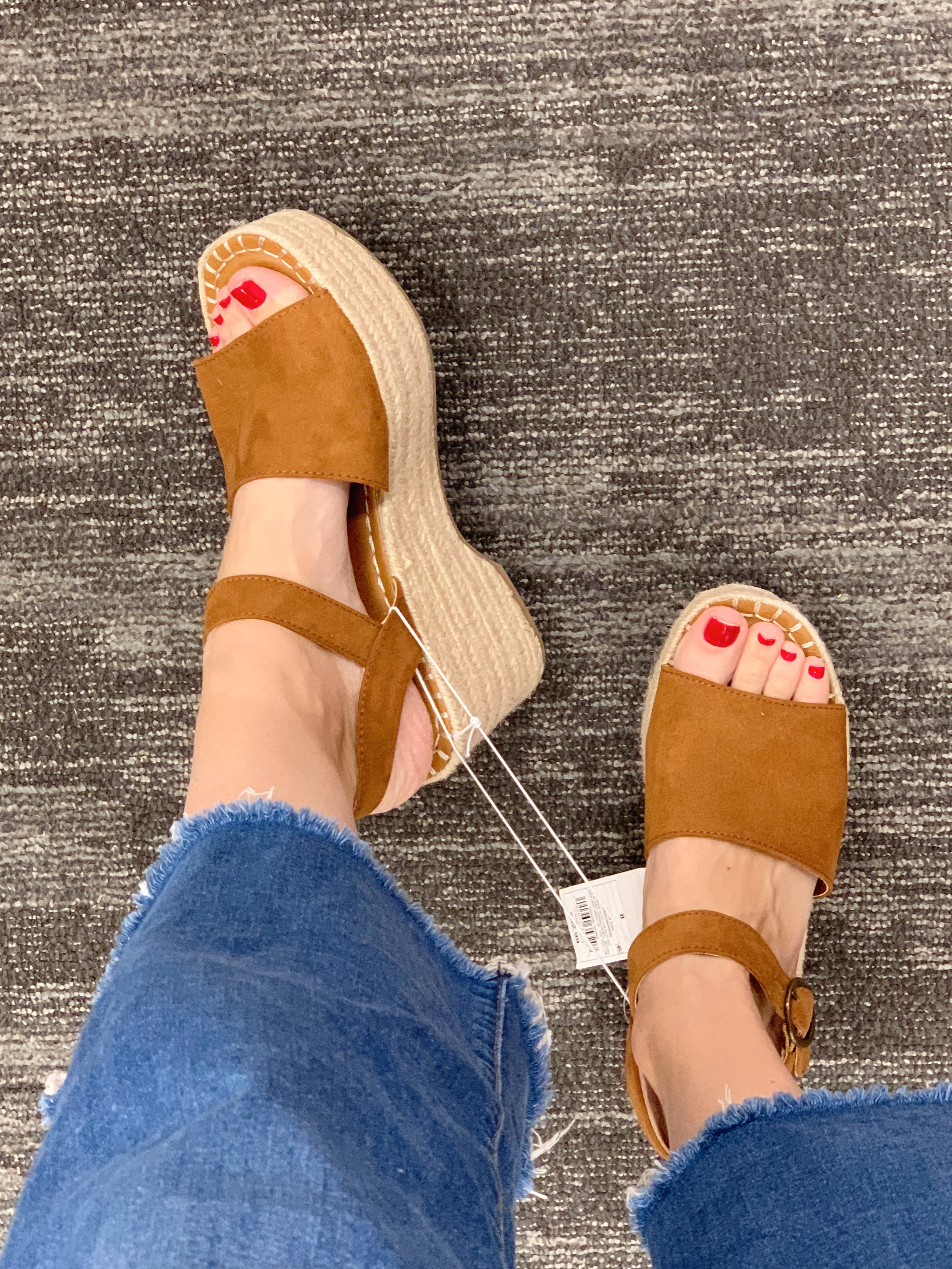 I have been admiring these at a distance for a few weeks and finally decided to try them on today. I love a platform espadrille and these were really comfortable too. They also come in blue, black, orange and leopard (which is sold out online).