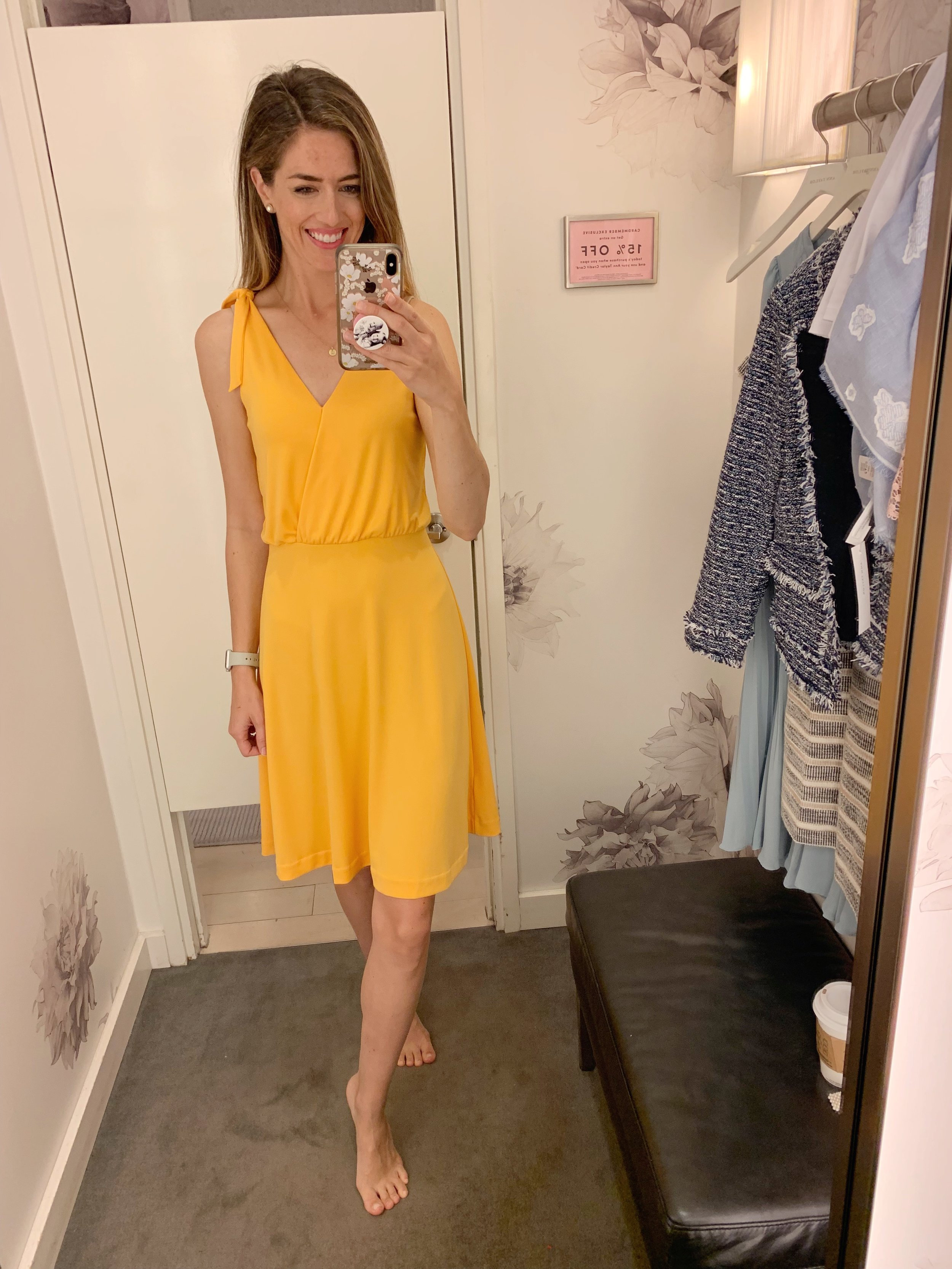 I thought this golden yellow color was so pretty and it was super comfy on. It's certainly not a color I have in my closet and it could be a great late summer/early fall transitional piece with a denim jacket. I would suggest wearing a slip underneath it so you don't see underwear lines. Pair it with tortoise shell earrings or a pretty scarf and you have a great outfit. Sale price is $110 plus the additional 50%/60%/70% off depending on how many items you purchase (70% off is $33)