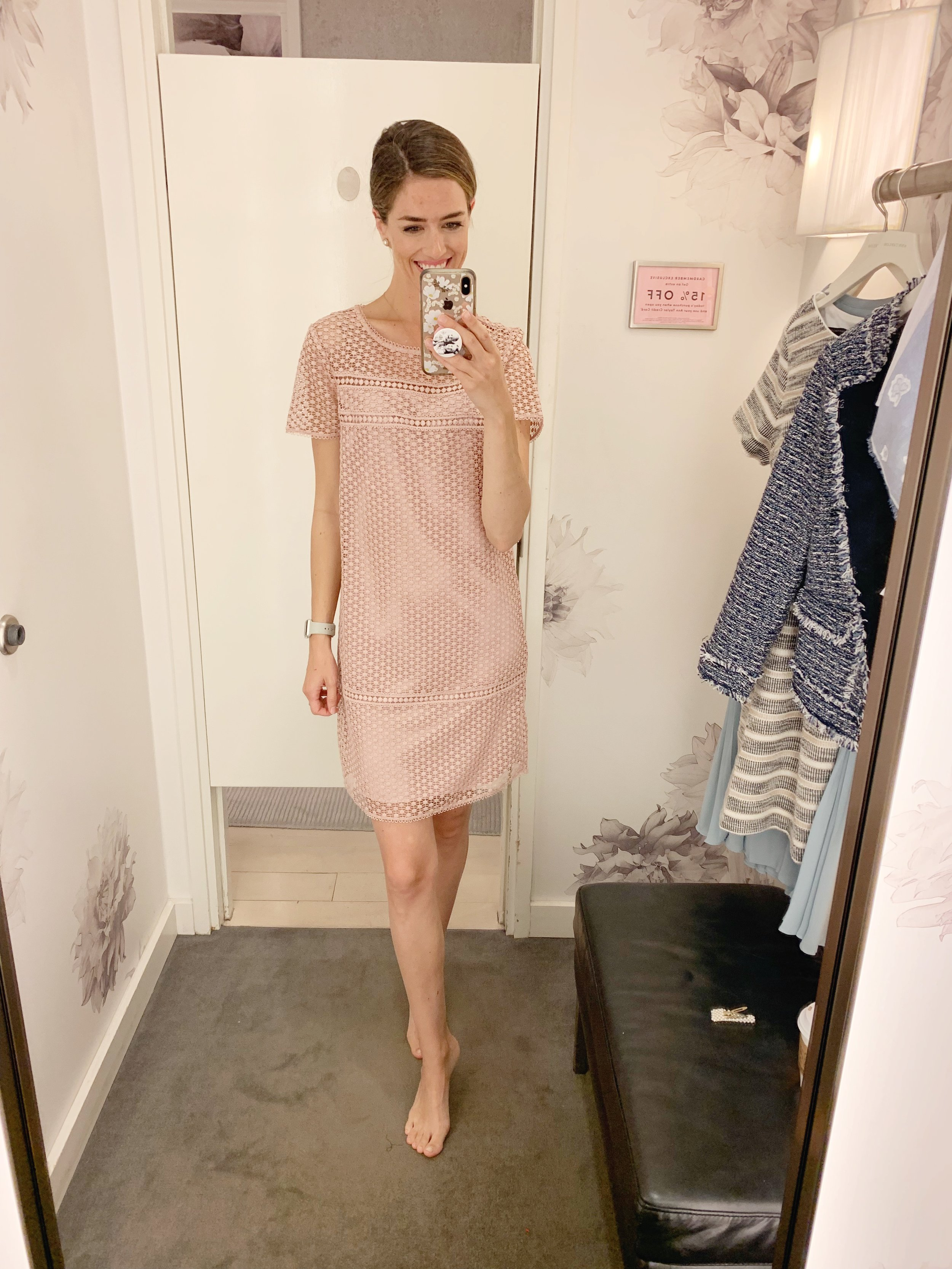 This dusty rose color is so feminine and I think this would be such a great wedding guest dress. It does run generous in size so I would size down if you prefer it to be more fitted. Sale price is $142 plus the additional 50%/60%/70% off depending on how many items you purchase. (70% off is $42)