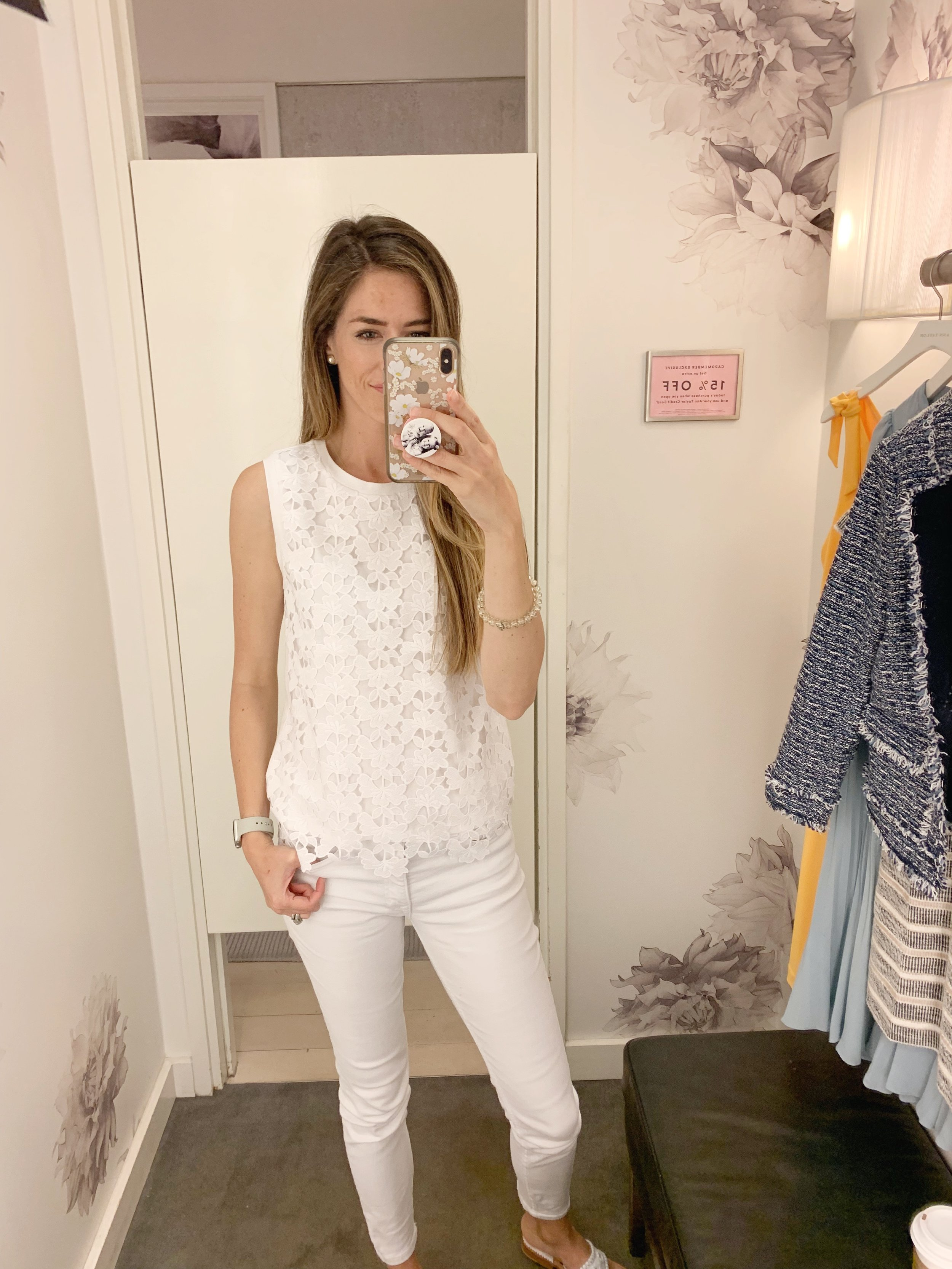 This lace shell is a great alternative to a basic white top. The back is a not lace and it also comes in navy with a white lace overlay. The sale price is $49 $49 plus the additional 50%/60%/70% off depending on how many items you purchase. (70% off is $15)