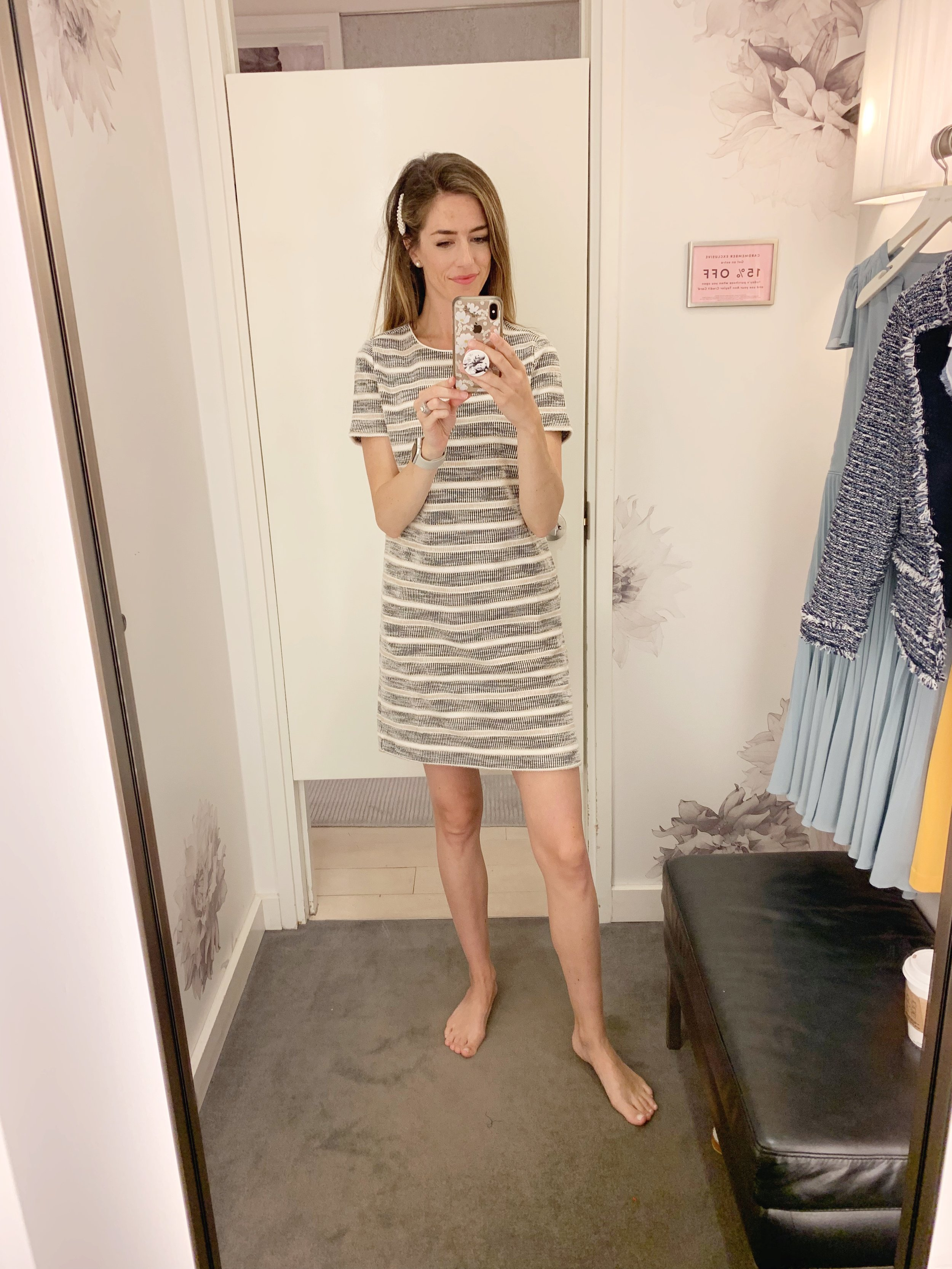 """LOVED this dress. Nice and thick in texture, this would be great for the fall paired with flats or heels and would be perfect for the office or a business event. It runs TTS and even for a tall person (i'm 5'9"""") and it hits me at a nice length just above the knee. Priced at $129."""
