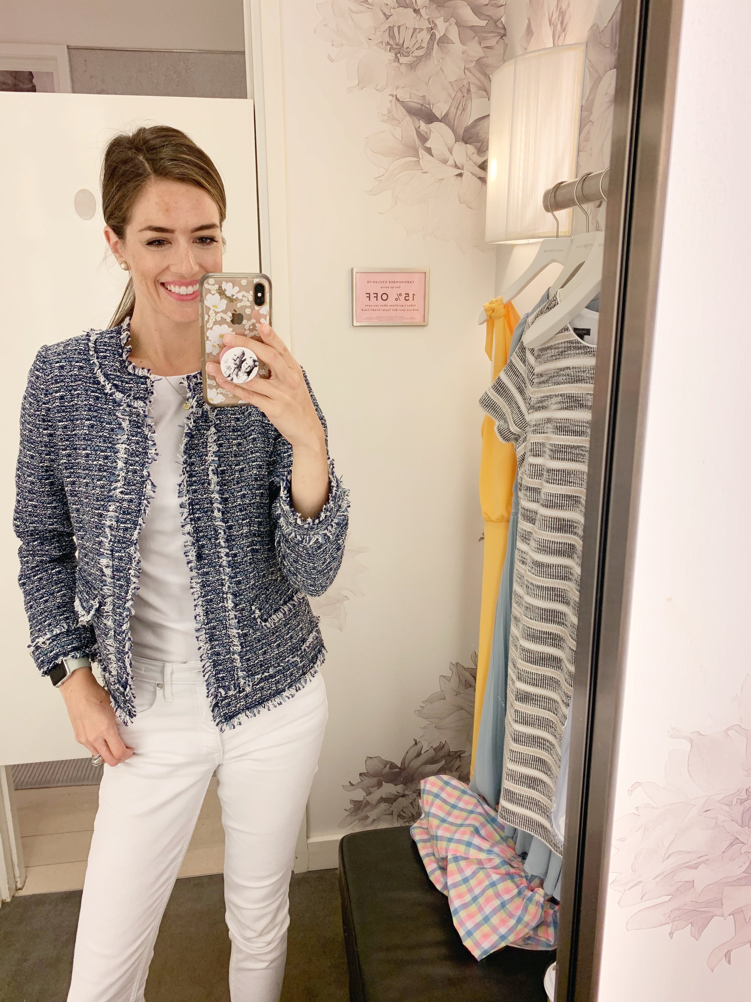 This jacket is timeless and I loved the blue/white combo. It would look great paired with dark wash denim and loafers or you could get the matching skirt for a more formal look. The shirt I'm wearing underneath is the boatneck luxe tee and is the ultimate white tee to use for layering with pieces like this jacket. Select colors are on sale but white is not. The jacket is priced at $149 and the tee is $39.