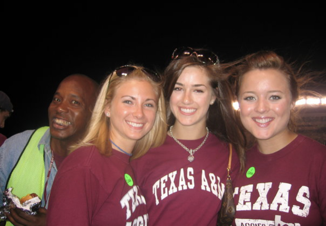 My friends Emily and Claire,(and a random photo bomber with a hotdog) at a game our freshman year. This was 2005 and taken on my digital camera :)