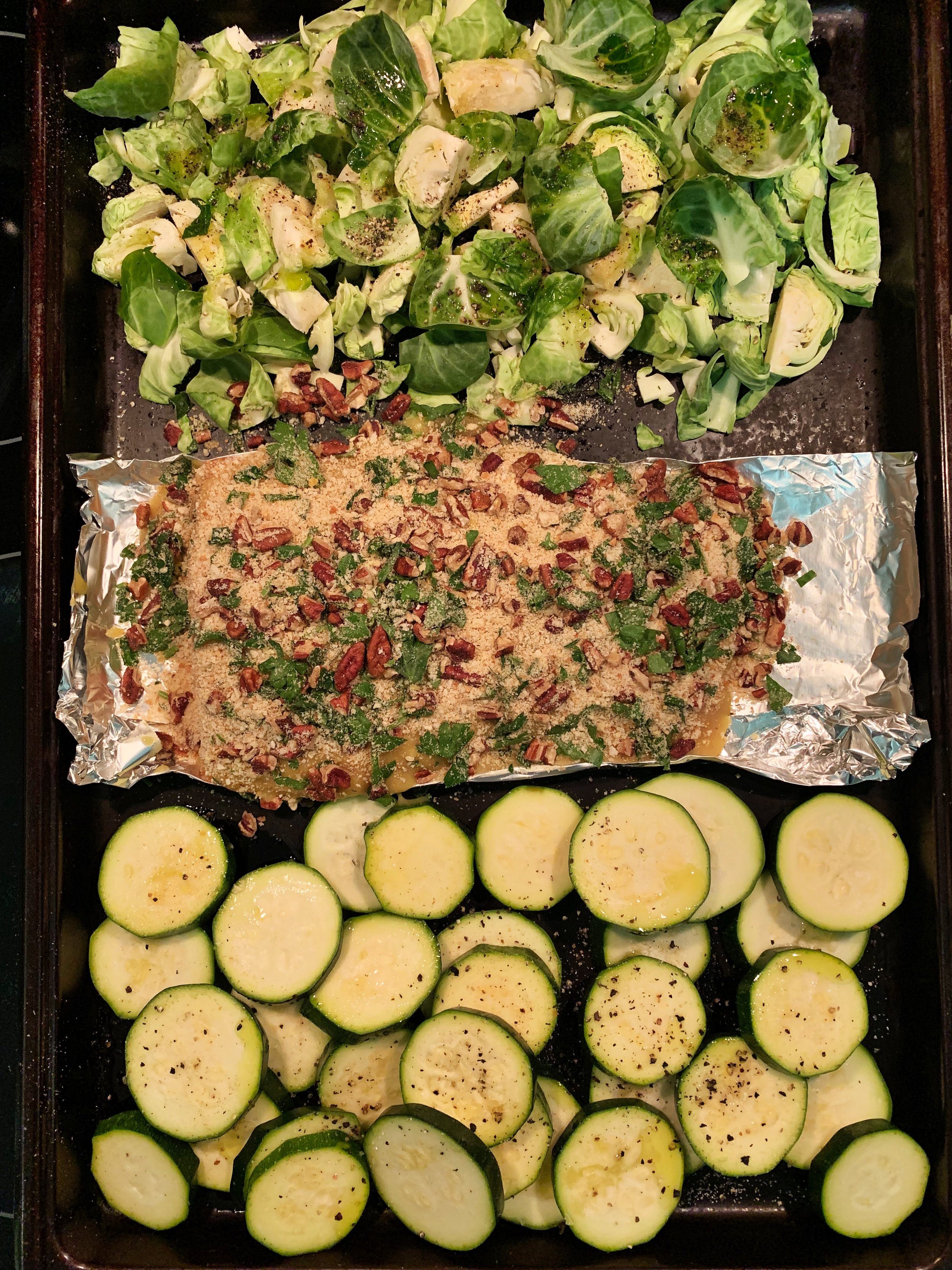 Honey Pecan Baked Salmon with some roasted veggies