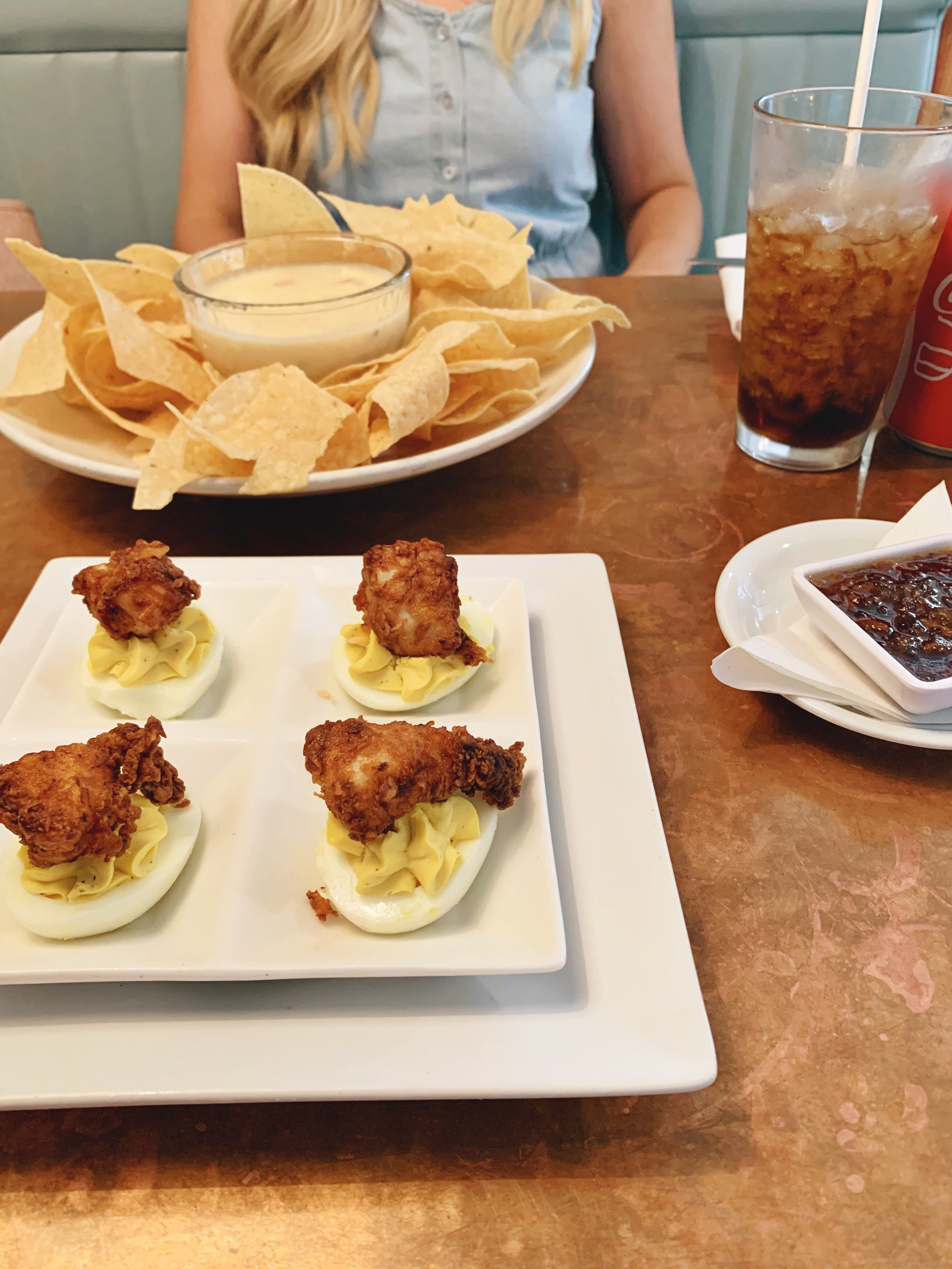 fried chicken deviled eggs and queso- Liberty Kitchen & Oysterette