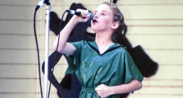 "Singing ""I Gotta Crow"" at Alameda County Fair in 1994."