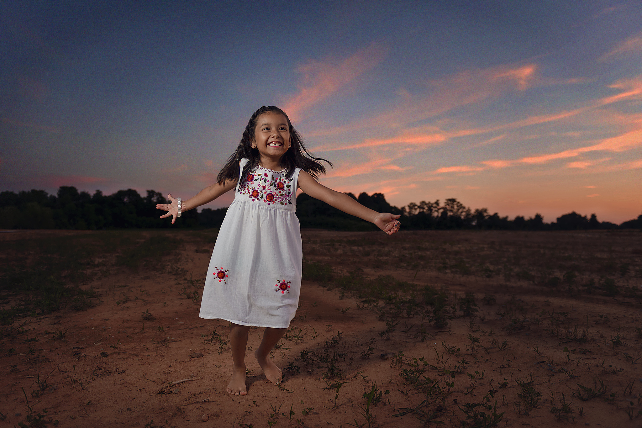 Child photography at sunset