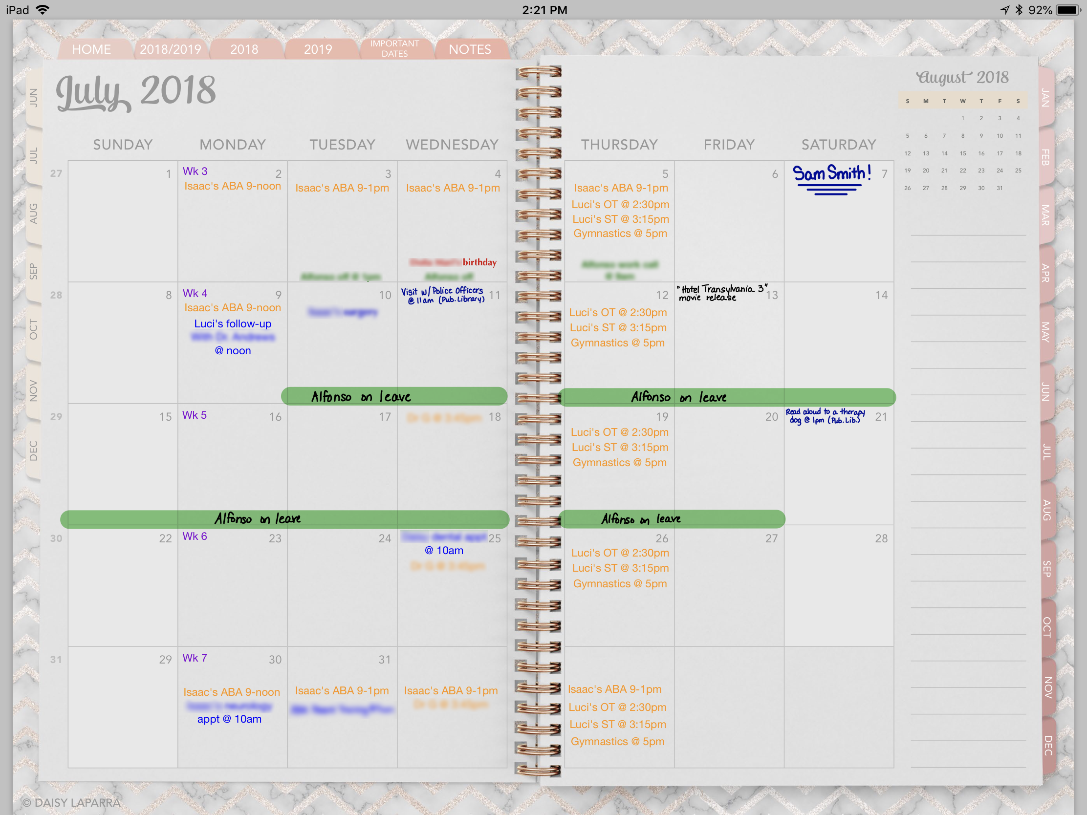 Digital planner monthly view
