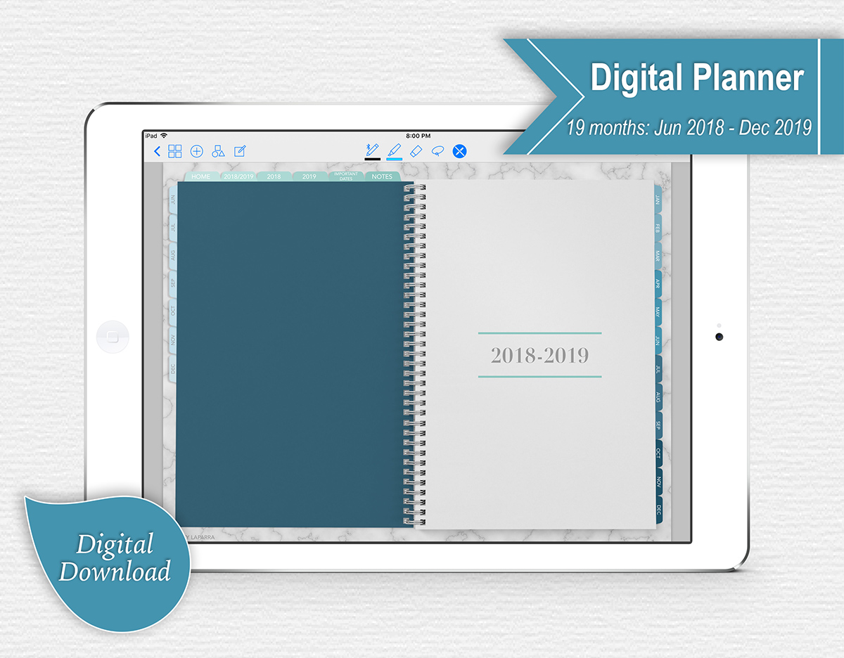 Realistic looking spiral digital planner with tabs
