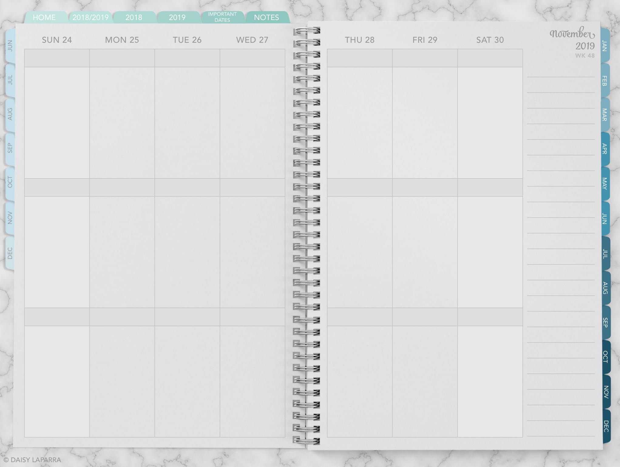 Hyperlinked weekly digital calendar planner