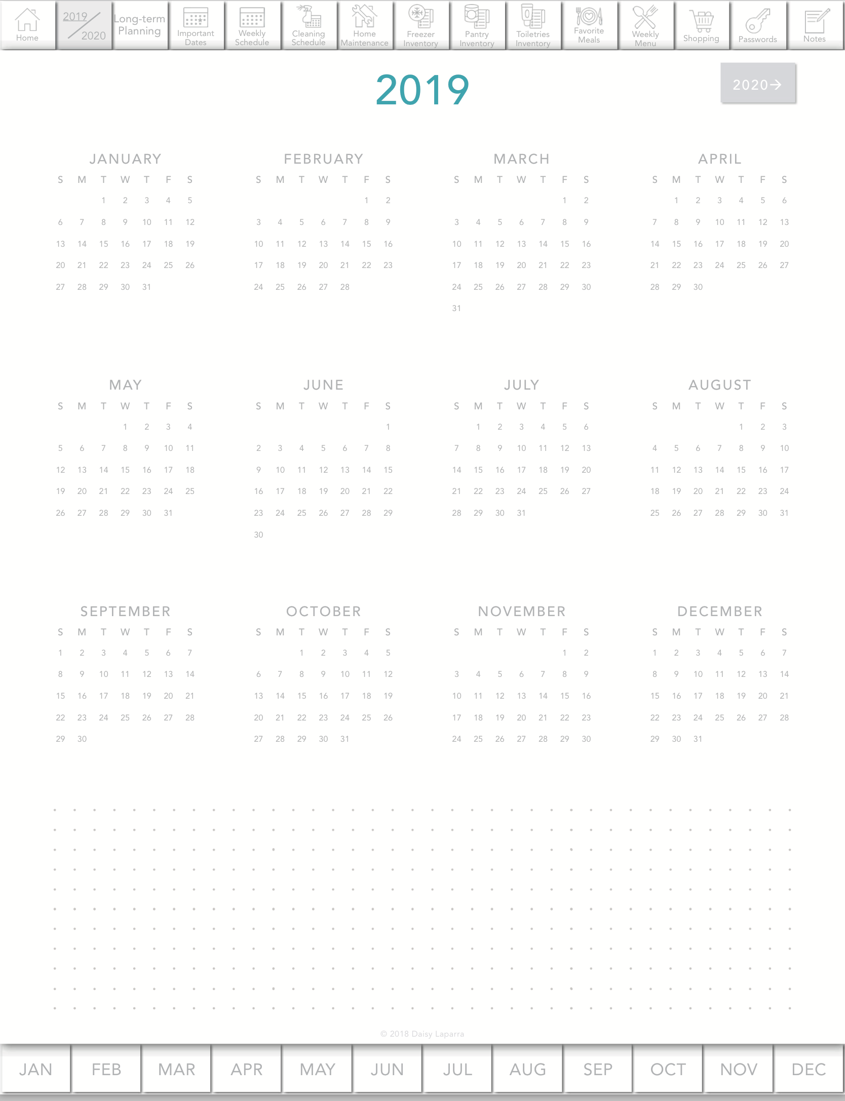 Vertical planner for Notability, Goodnotes