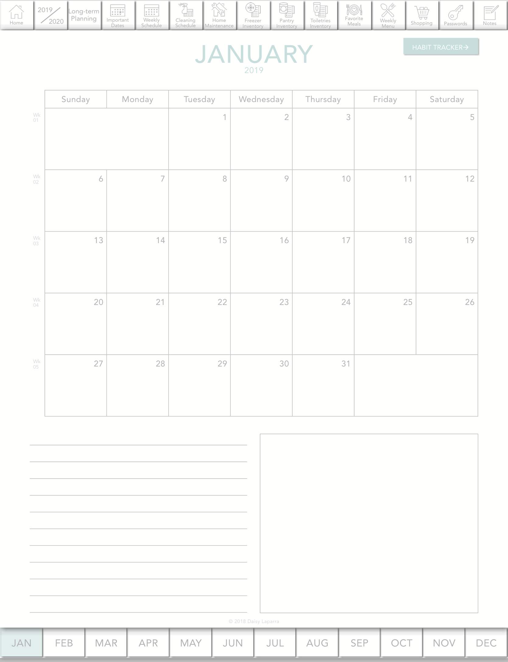 Digital planner with hyperlink to monthly view