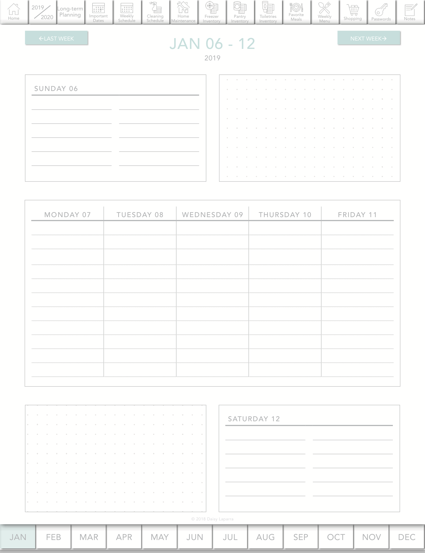 Weekly layout for digital planner with hyperlinks