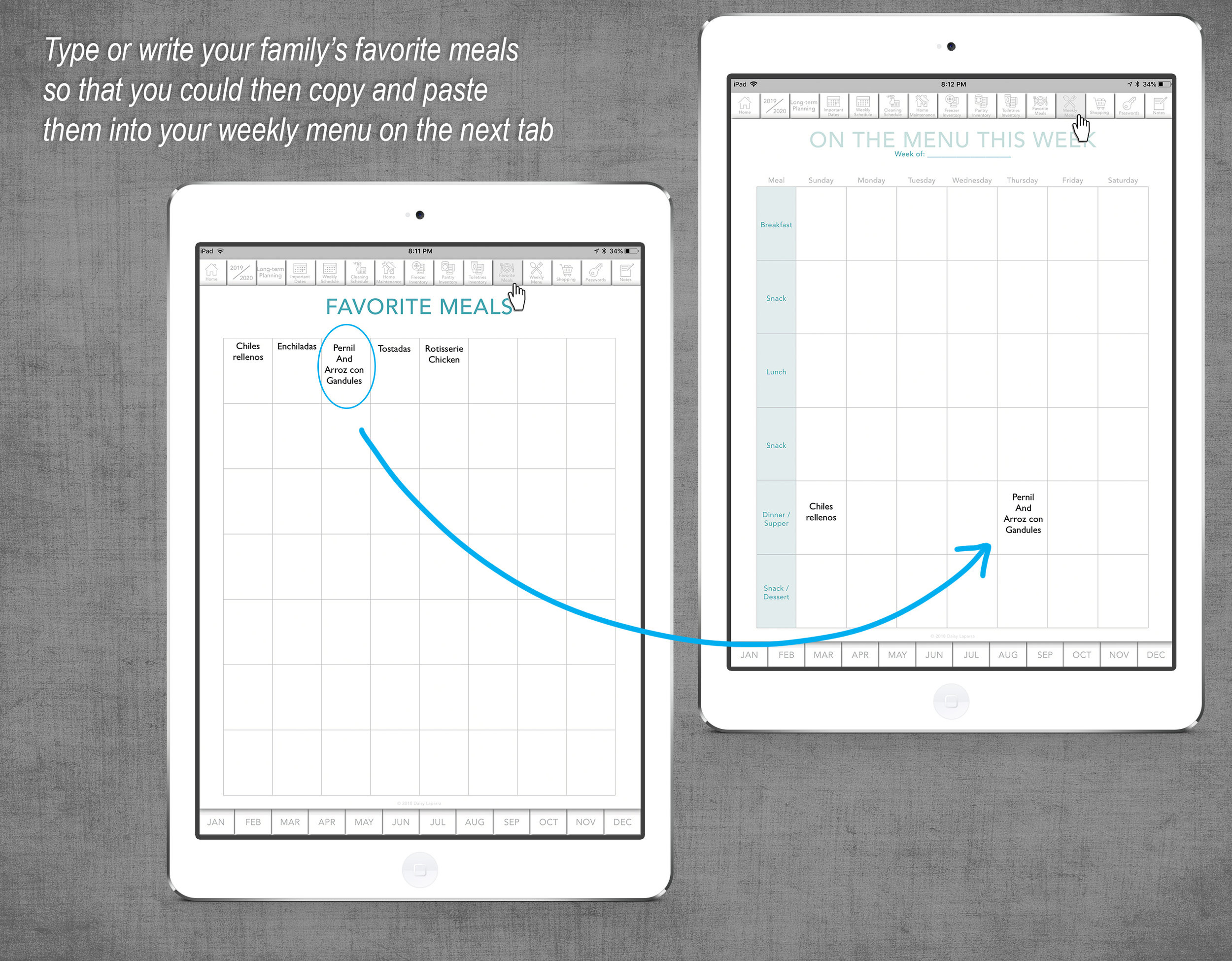 Digital meal planning for iPad