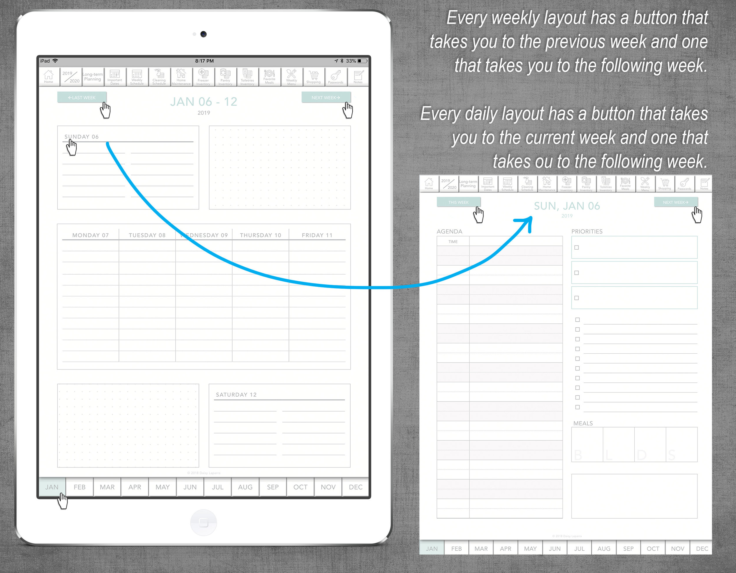 Digital planner for iPad with weekly and daily layout