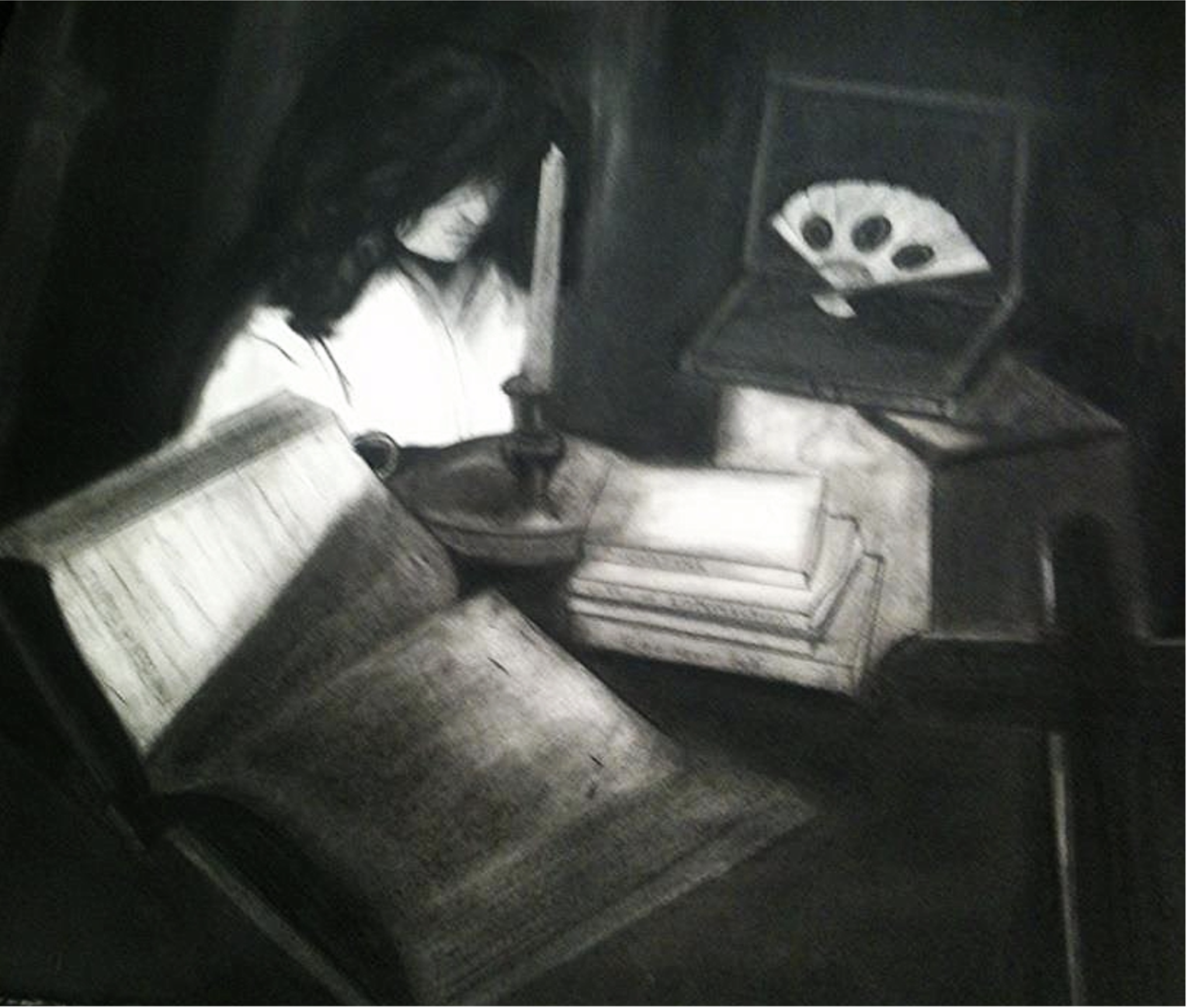 "Nina's Self-portrait: ""Discerning God's Will."" Charcoal on Paper, 2013"
