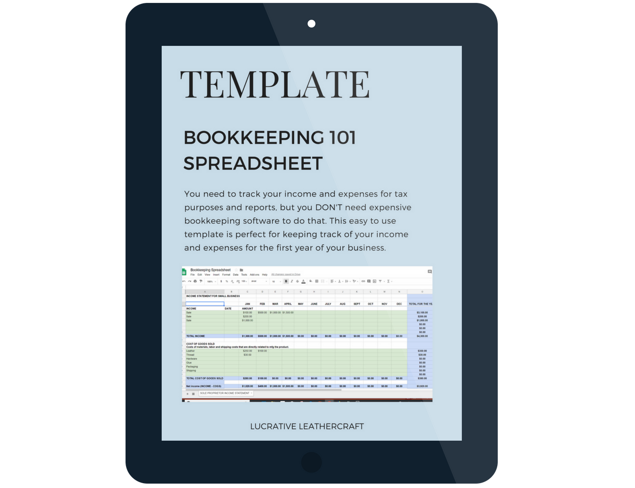 Use this easy to use template to track your income and expenses instead of using expensive and complex bookkeeping software.