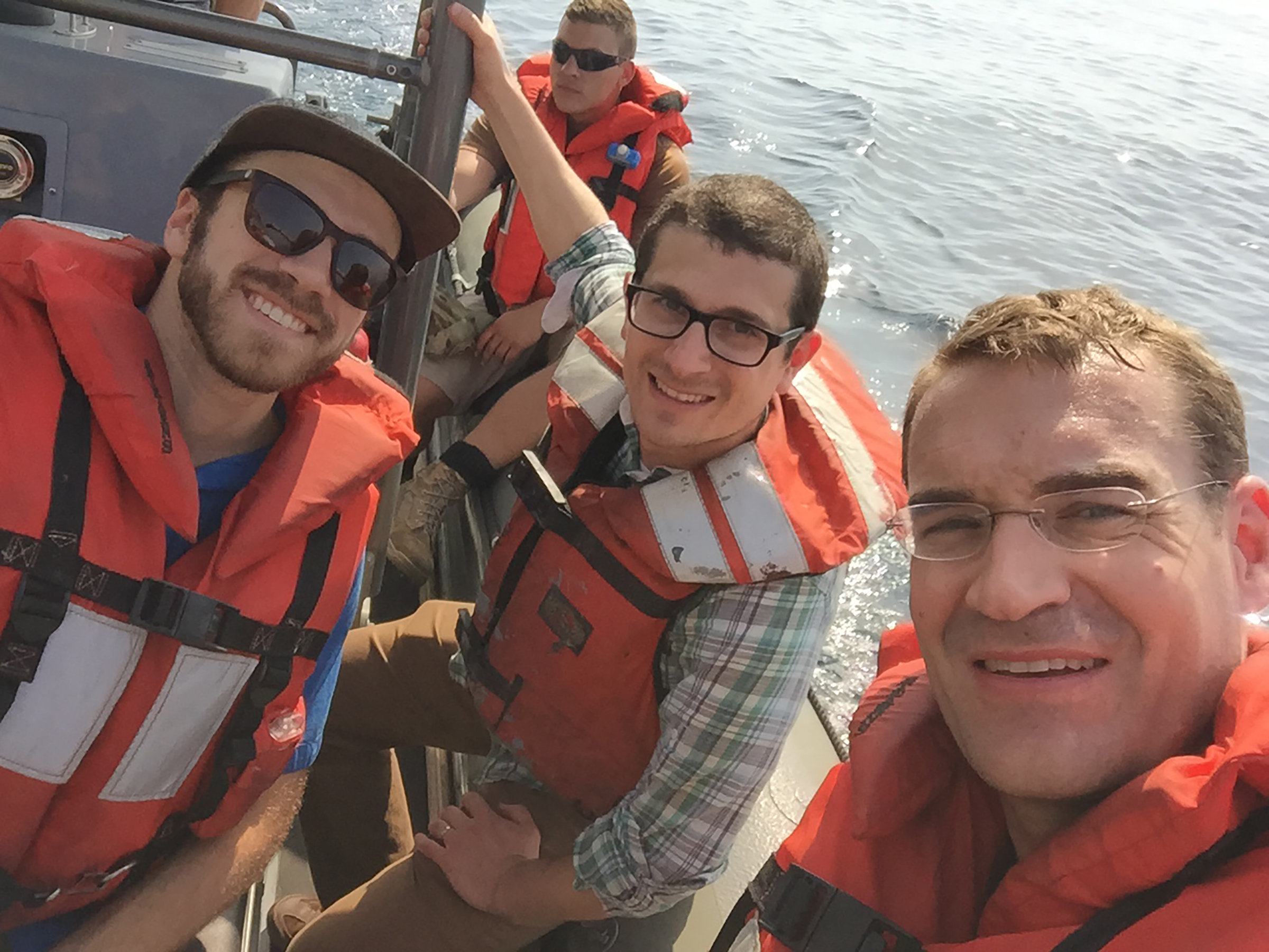 The Reporting Team: Jason Paladino, Mike Hixenbaugh and Zachary Stauffer in the Persian Gulf in April 2016.