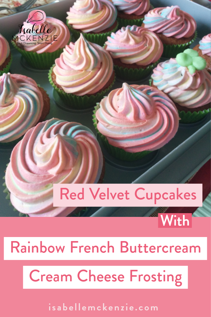 Red Velvet Cupcakes with Rainbow French Buttercream Cream Cheese Frosting