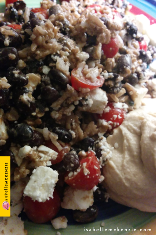 Hearty Rice and Black Bean Salad with Hummus and Tangy Balsamic Creamy Dressing