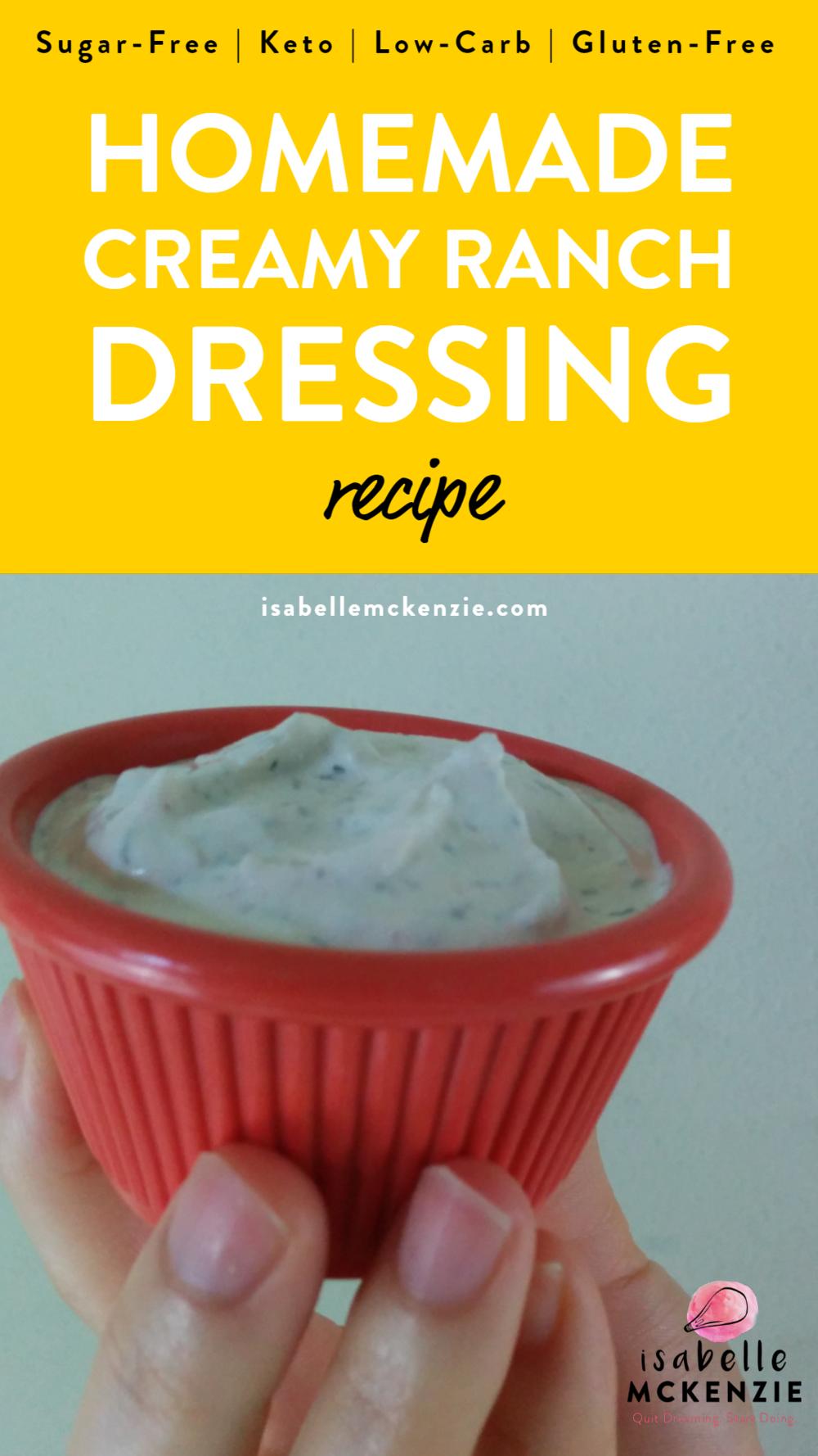 Creamy Homemade Sugar-Free Ranch Dressing (Gluten-Free, Keto, Low Carb)