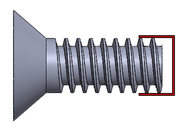 Figure 2: The major diameter is the widest part of the thread. It's included as the diameter value in a screw's value set.