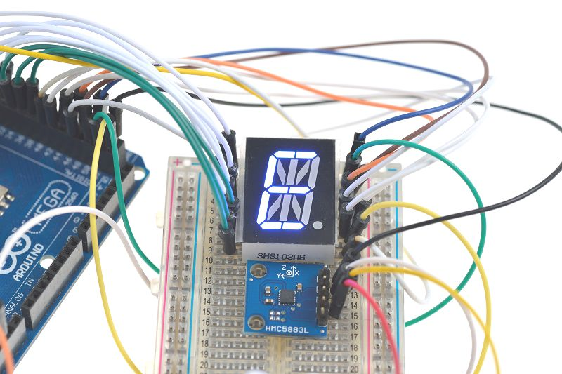 Digital Compass Magnetometer and LED Display Connections