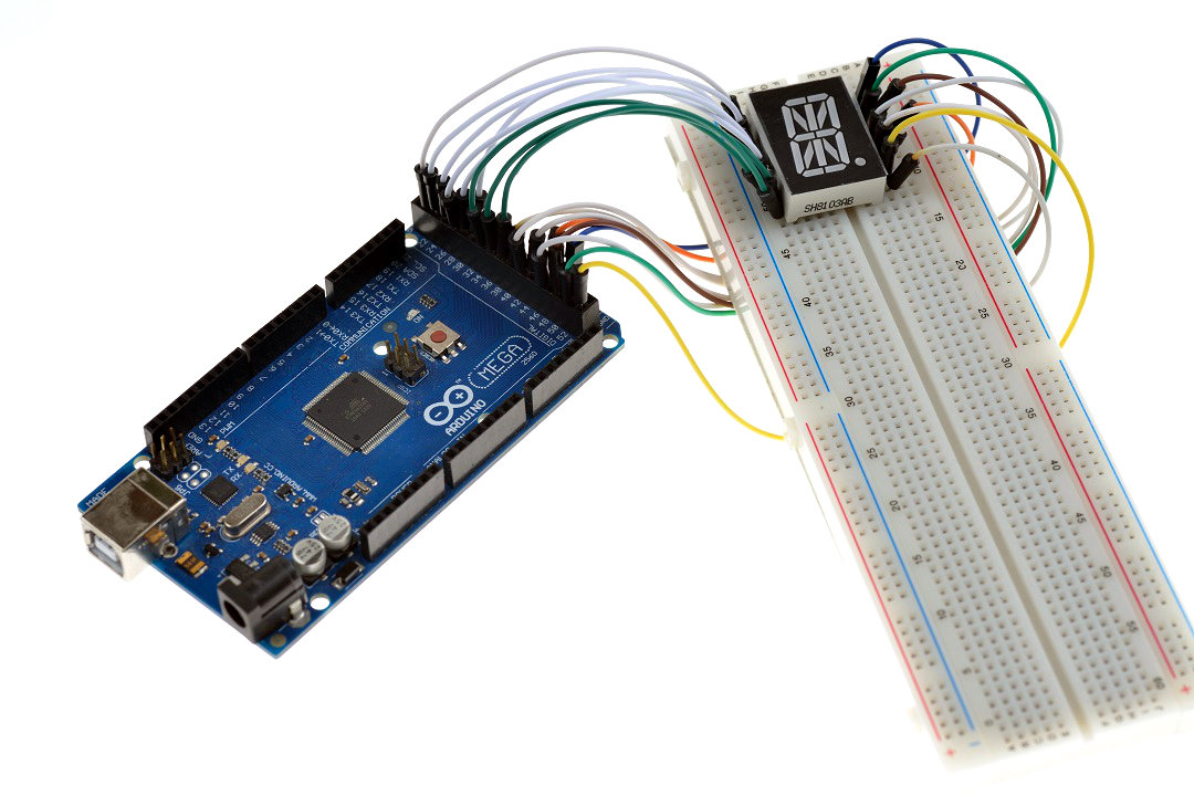 Arduino Mega with 16 Segment Display