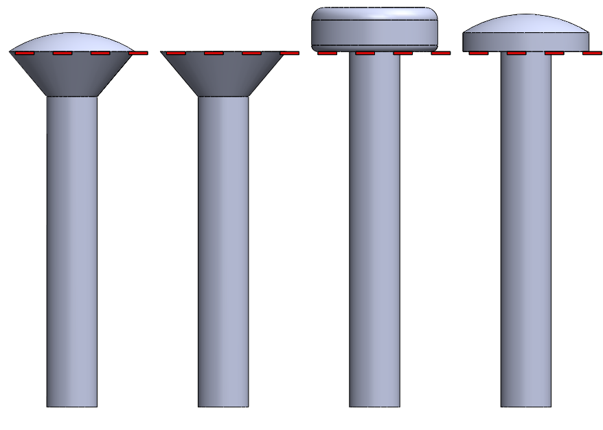 Figure 4: The dashed line indicates the starting measure point for a screw. All the screws shown here have the same length.