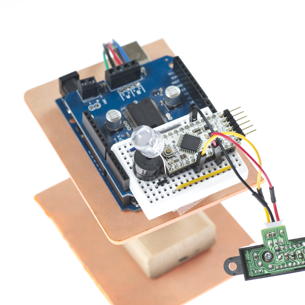 Placement of Breadboard on Dual Motor Shield