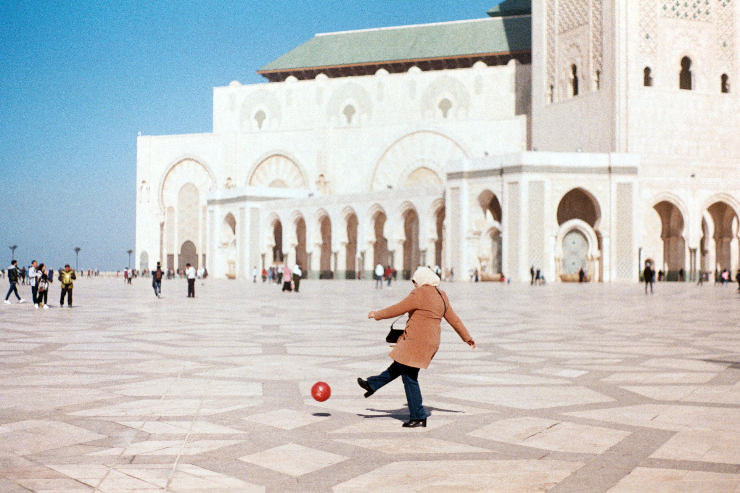 Kickball at Hassan Il Mosque, Casablanca