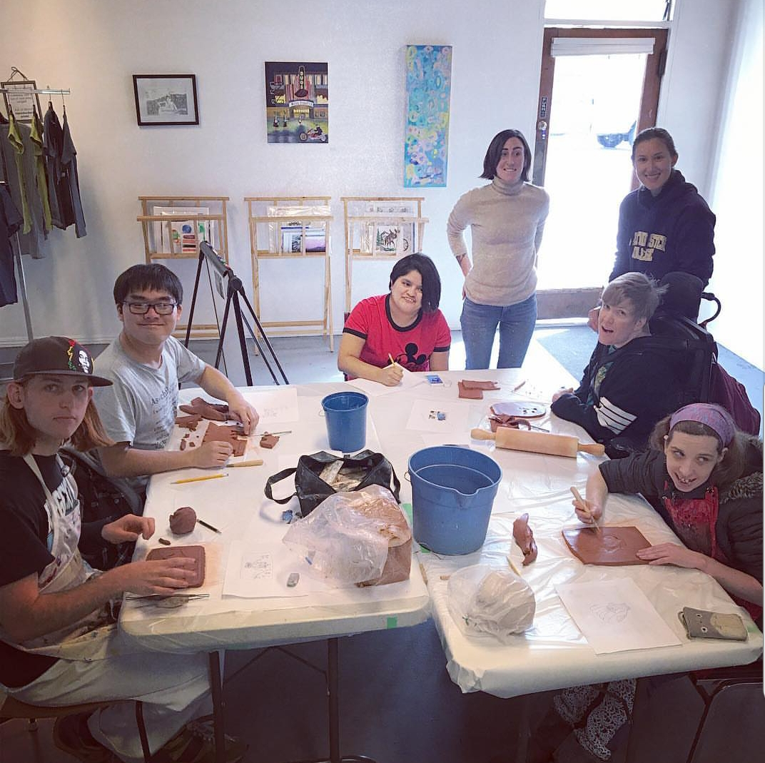 Intern Allison facilitates a clay workshop with the studio artists. Last year was Claraty Arts' first time showing ceramics at our art show! Thank you Allison for what you brought to the studio!
