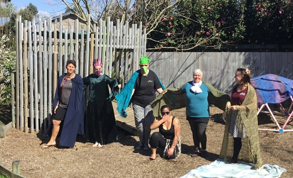 """Our dramatic provocation of 'Hatupatu and the Birdwomen"""".       Our families and children enjoyed these performances so much they become a weekly ritual."""
