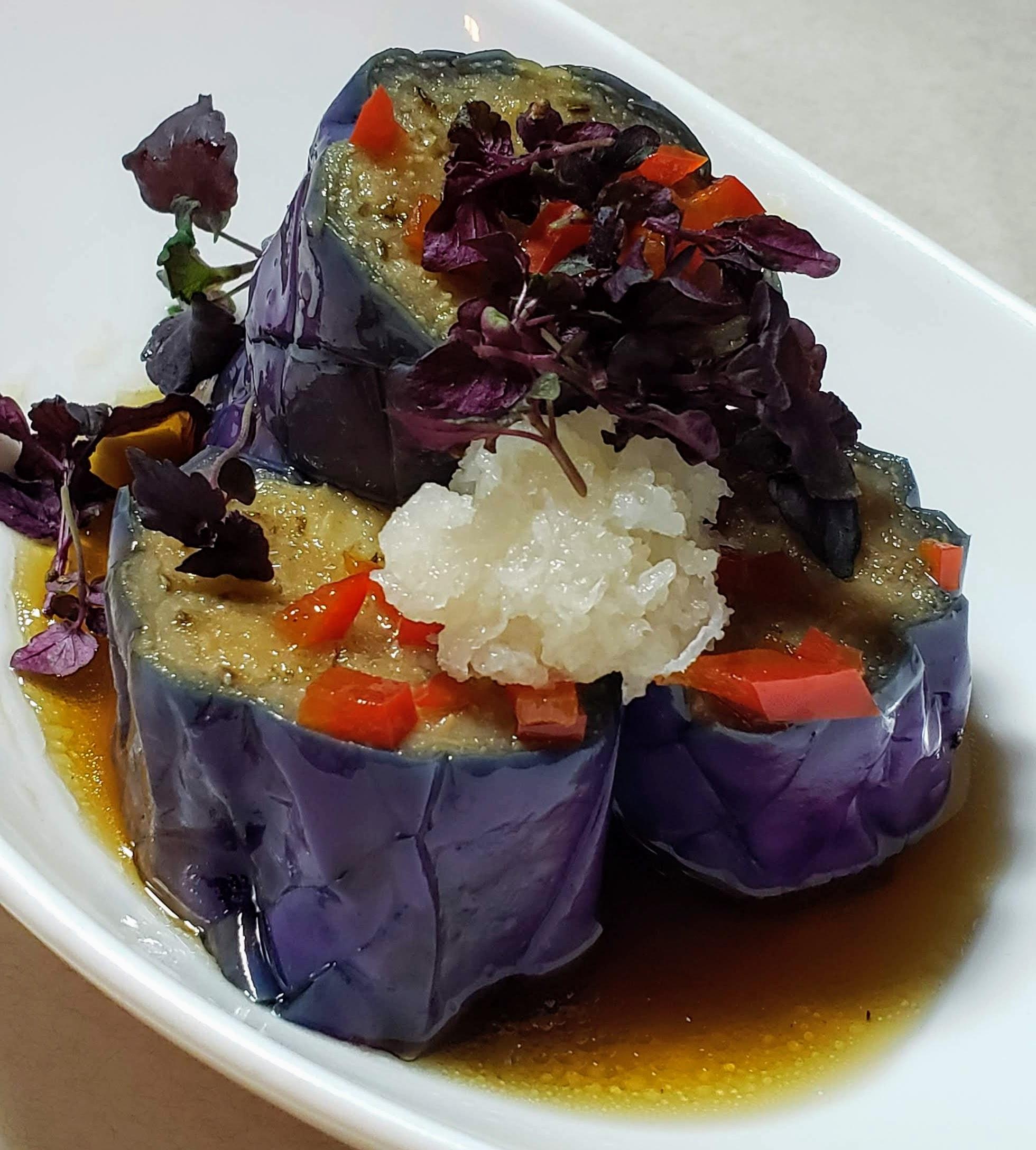 Nasu Agebitashi ( marinated eggplant, daikon, shiso)