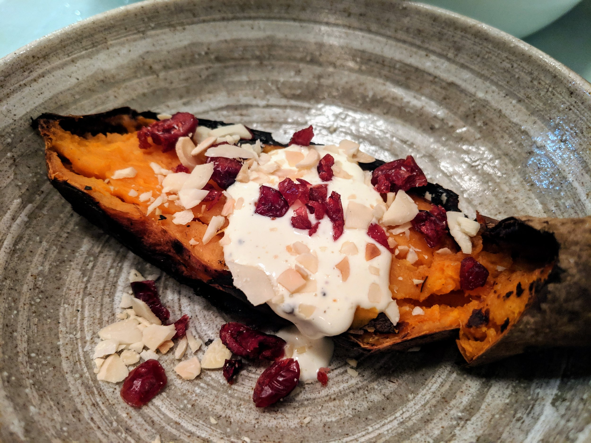 Yaki Imo  (sweet potatoes roasted in embers, yogurt Kewpie, cranberries, toasted almonds)