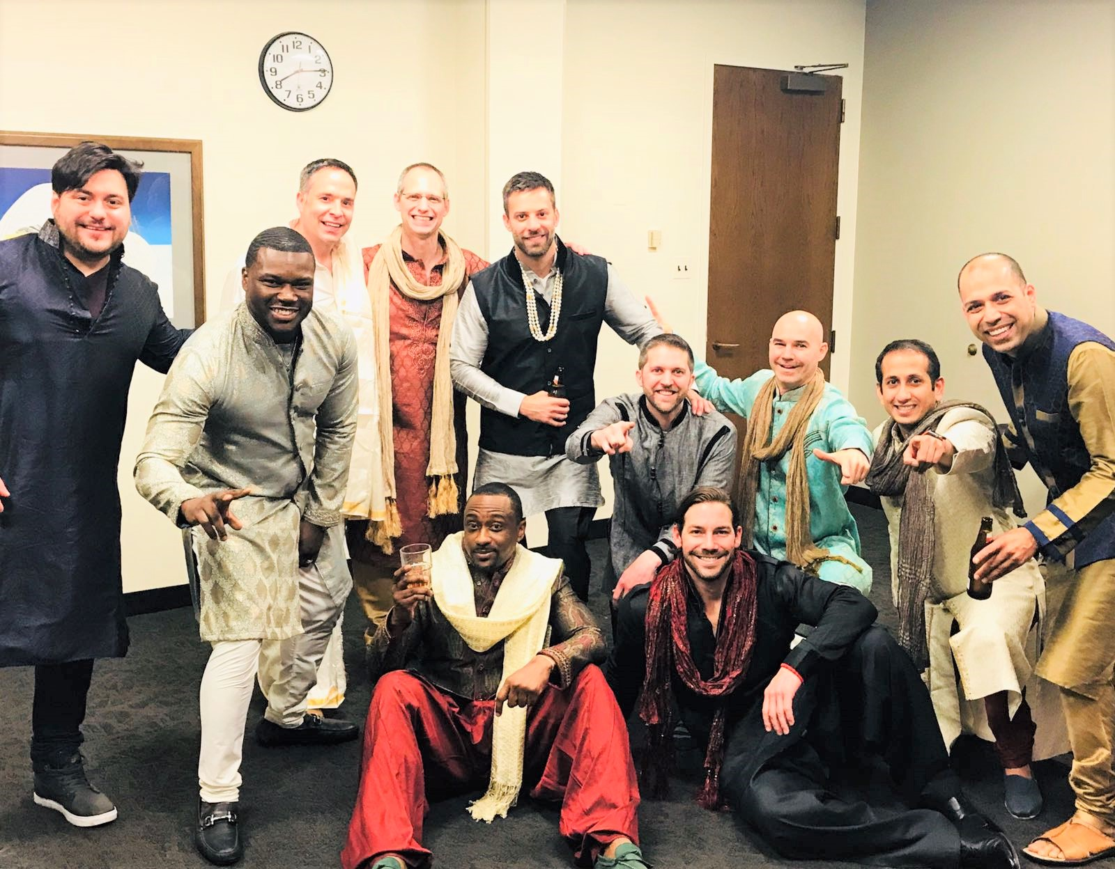 Fashion show Models.. Our very own EMBA Executives...(Left to right), Bruno Castro, Mario Ball, Vic Thomas, Dr. Dan Sidney, Ryan Walker, Eric Suddarth, T Hauseur, Sravan Pappu, Kohposh Kuda. Sitting (Left to right), Chet White, Dustin Childers