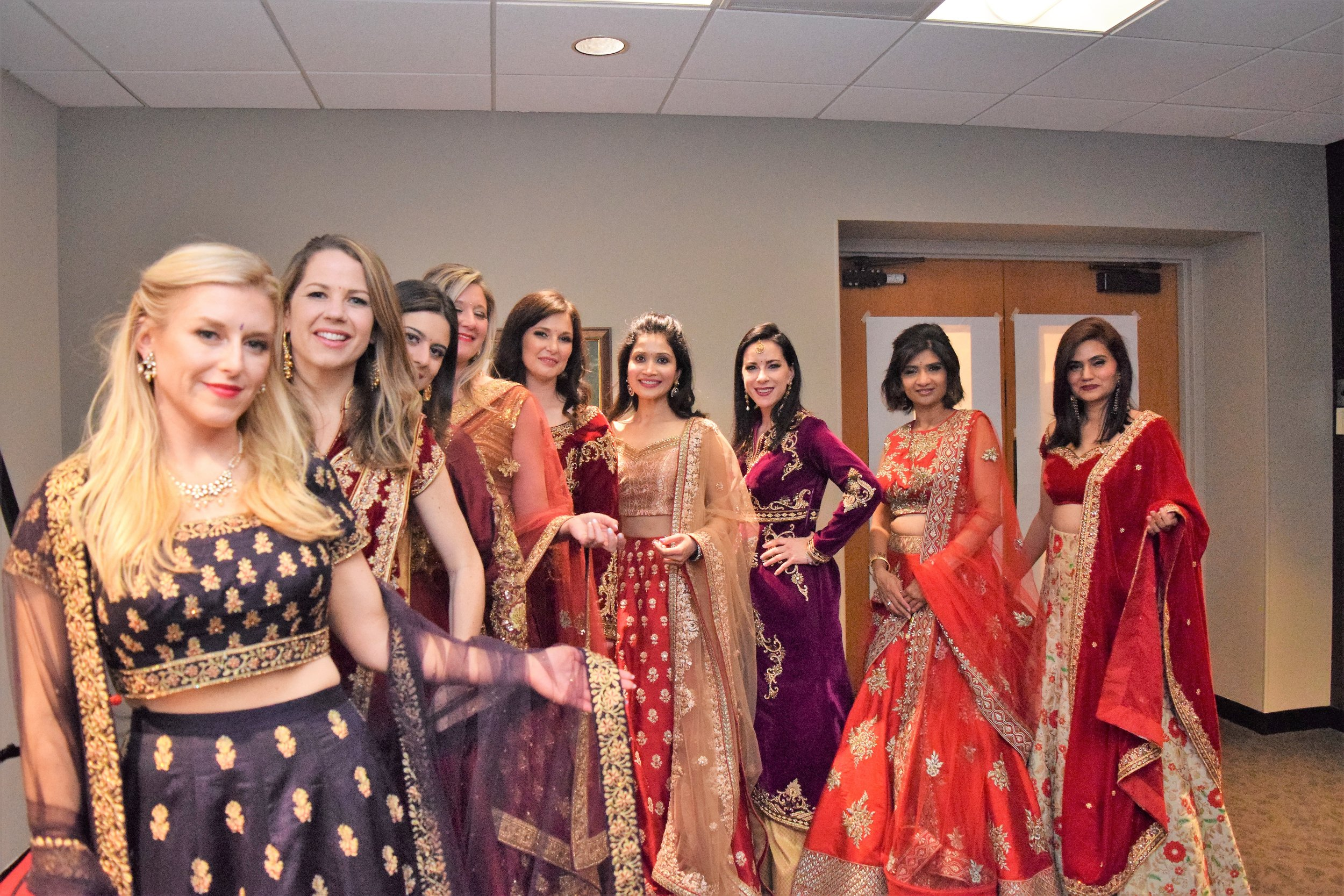 Our EMBA executives... Our Beautiful Fashion Models... L to R: Heather Murray, Brittany Hizer, Fabi Limena Coleoni, Julie Daugherty, Elspeth Moffatt, Dr. Sonam Chouksey, Alison Bullock, Rohini Hebbar, Inder Kaur