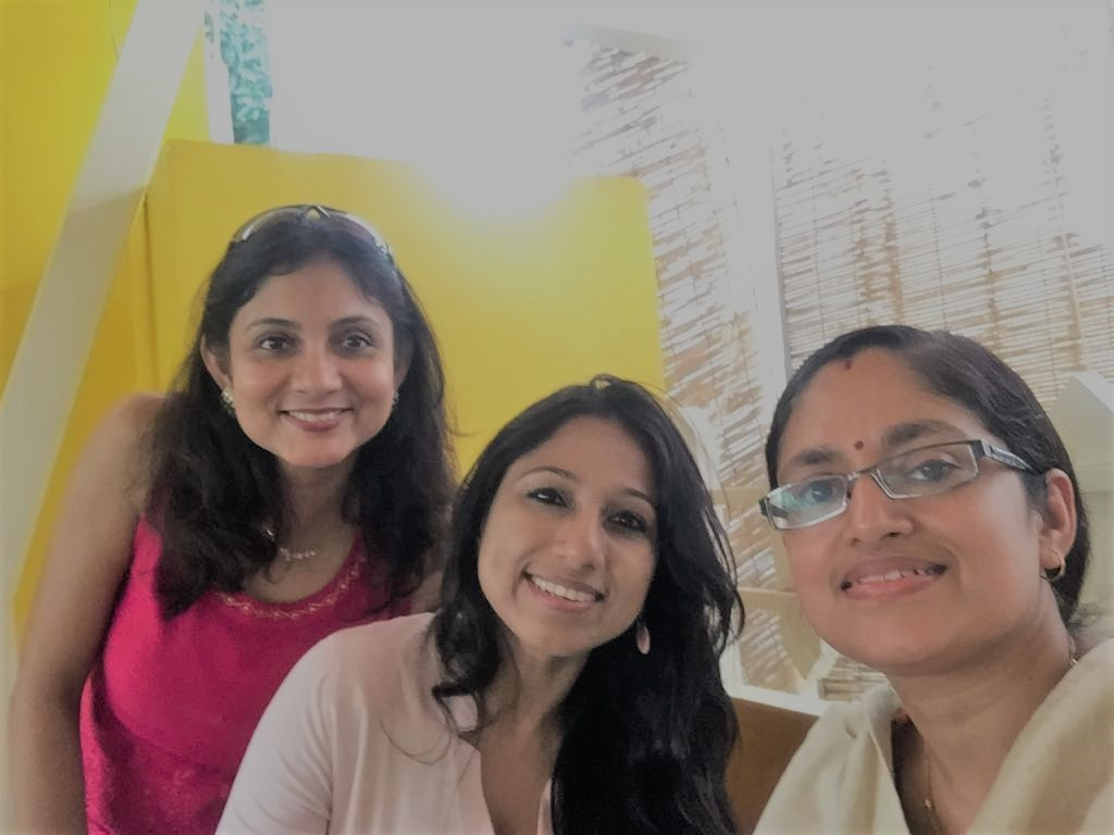 With Deepanwita Bagchi and Debjani Goswami: My friends from Holy Cross School, Assam, Computer Science Engineers who are working moms, busy in their lives took out time from their busy schedules to meet me and understand how the cause can be taken forward. Deepanwita and Debjani are selflessly coming forward to contribute to Breast Cancer awareness.
