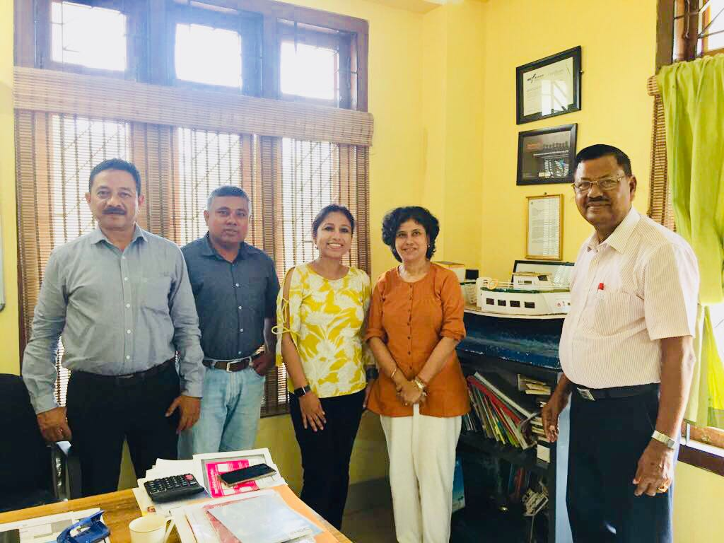 """Sincerely grateful for collaboration with Center for North East Studies and Policy Research (C-NES). From left: C-NES members, Mr. Ashok Rao, Programme Manager; Mr. Manik Boruah, Associate Programme Manager; Mrs. Bhaswati Goswami, Communications Officer and Dr. C. R Hira, Technical Adviser. 12th July, 2018, after reaching Guwahati, I headed to meet Mrs. Bhaswati Khaund Goswami, Communication officer, Center for North East Studies and Policy Research(C-NES). The organization has been providing basic health care services to the flood vulnerable population living in the Brahmaputra islands, through specially developed boats popularly known as the """"Ships of Hope in the valley of Floods"""" equipped with OPD, laboratories on board as well as pharmacies, to thirteen districts in Assam through a Public Private Partnership (PPP) with the National Health Mission (NHM), Government of Assam. The goal is to take sustained health care to lakhs of persons on the islands, with a special focus on women and children, who are the most vulnerable in difficult conditions ( www.c-nes.org ). We are collaborating & working together to spread breast cancer awareness & give the Breast self exam cards in the areas where C-NES work- among some of the most marginalized and vulnerable communities dwelling in the Brahmaputra river islands in Assam, India.  I was so amazed to know about Boat clinics and the tremendous amount of work they are doing to reach the islands where access is minimal. Excellent outreach and work and I am so honored and happy to collaborate with C-NES! We would also like to build the collaborative project as an epidemiological research study along with awareness & education!  Please visit  http://www.c-nes.org / and get to know the outstanding work C-NES is doing.. I was spell bound getting to know their work! Sincerely thankful to Susmita Baruah for connecting me to Mrs. Bhaswati Khaund"""