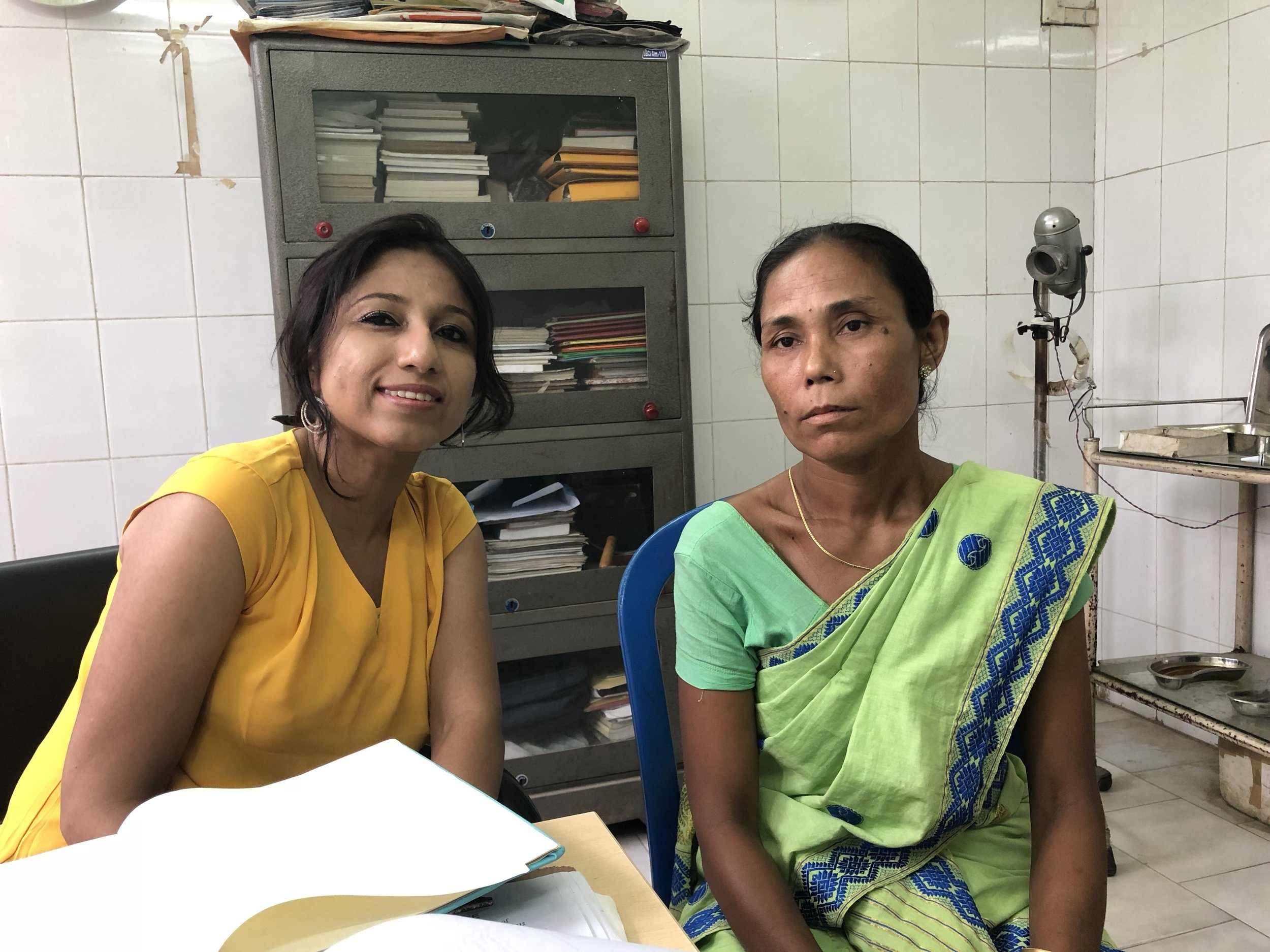 On 13th July, 2018, with Mrs. Sabita Rabha at Dr. B. Borooah Cancer Center. Mrs. Rabha came to the OPD of BCCI with a big tumor on the right breast and also small one on the left breast. My interview (to be posted soon) determined the ignorance existing among the women. Mrs. Rabha was not aware that this could be a serious issue.