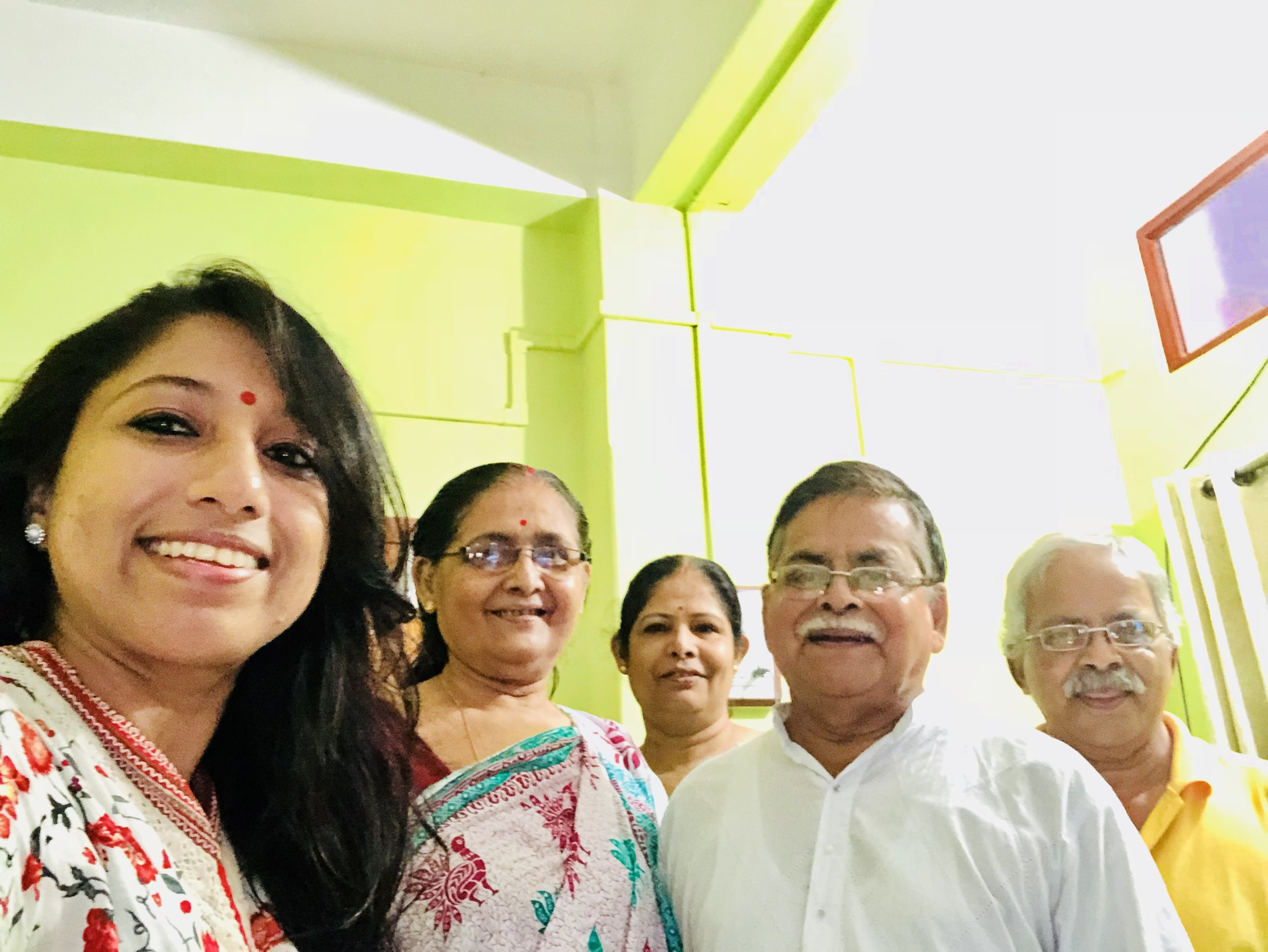 Mrs. Kalpana Choudhury, 10 year survivor, diagnosed at Stage III with her husband Mr. Kshitish Chudhury.. sister Mrs. Kalyani Roy Choudhury and brother-in-law Mr. Ratish Choudhury. Amazing family support.