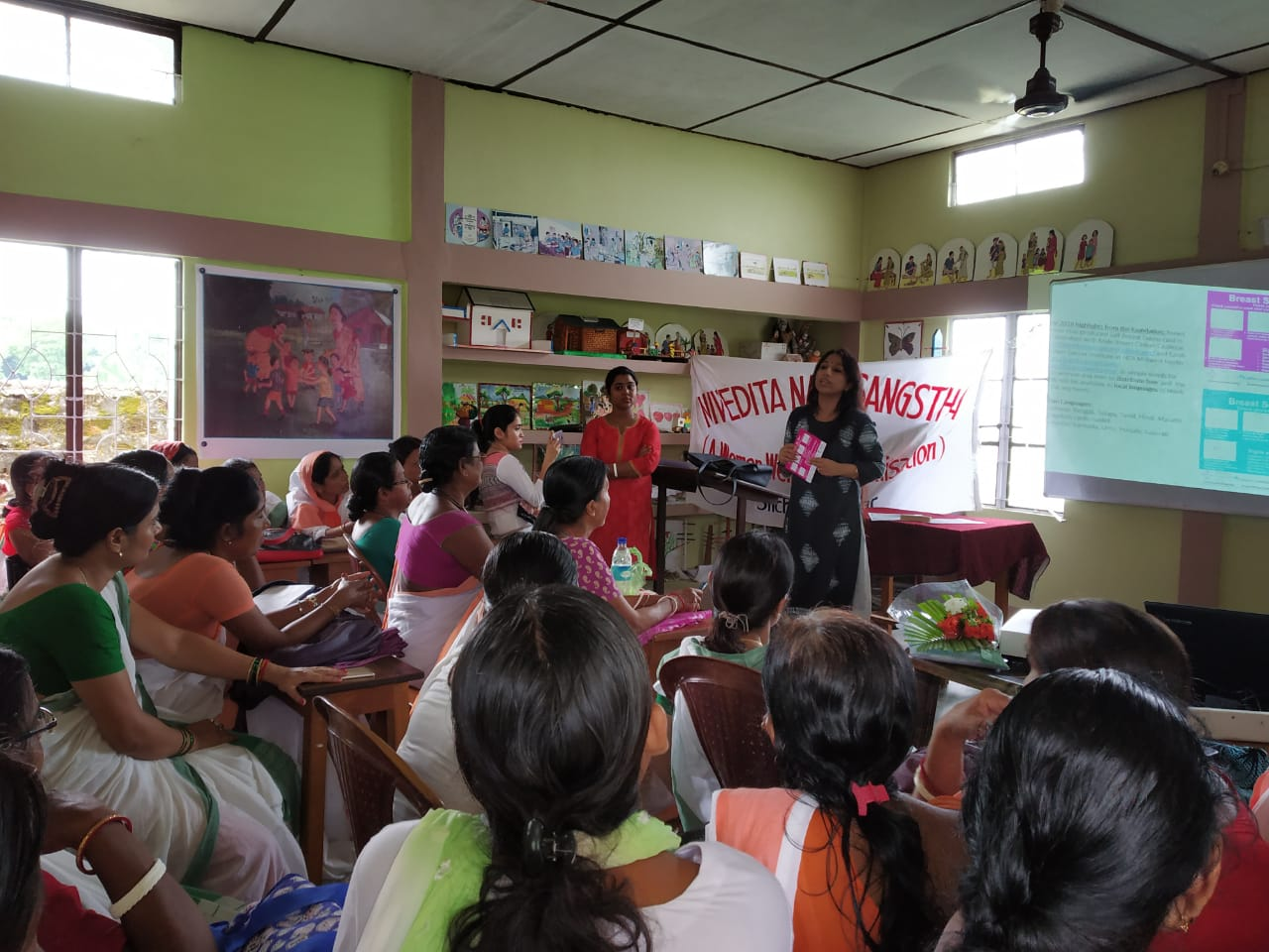 Breast Cancer awareness session emphasizing on early detection, breaking the taboo & shyness, knowledge about Breast health & Breast self examination protocol that can save lives...  The talk was recorded so that with new Anganwadi workers, the women are enriched about breast health and how they can save themselves by Breast self exam.