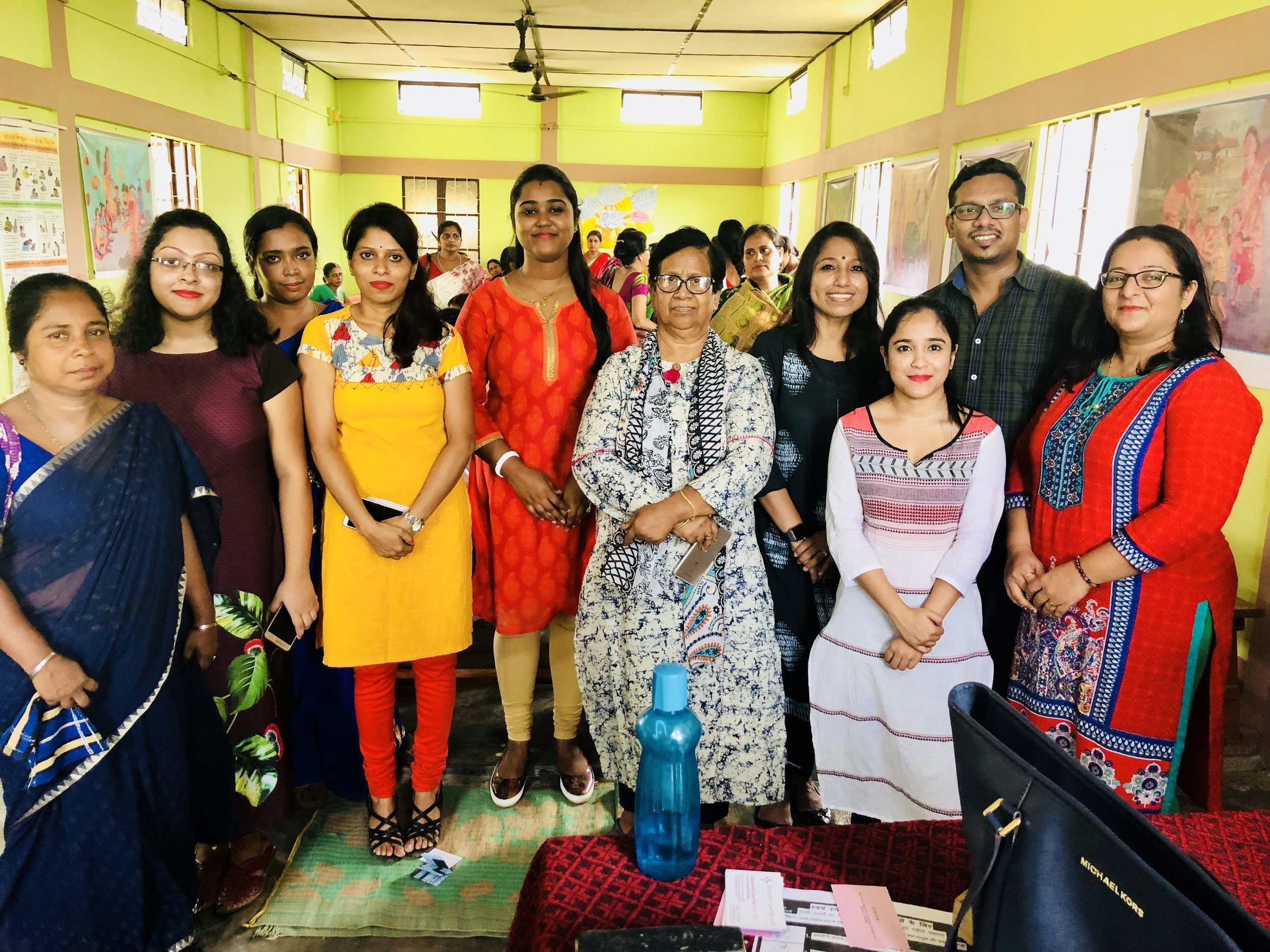 I am extremely thankful to all the members & staffs who helped in organizing the event. Without you all, the outreach would not have been possible. L to R: Sincerely grateful to Ms. Anwara Begum Laskar (helper); Ms. Sumedha Choudhury (Project Manager); Ms. Mahmuda Khanam Laskar (Worker); Ms. Urmi Biswas (Principal); Mrs. Sweety Das (Instructor); Mrs. Diba Roy (Secretary); Ms. Barsha Deb (Instructor); Mr. Subir Roy (Planning and Development Officer). Sincere thanks to Mrs. Kanchan Bhaya (Senior Process Consultant, TechnipFMC) for coming up and helping during the event