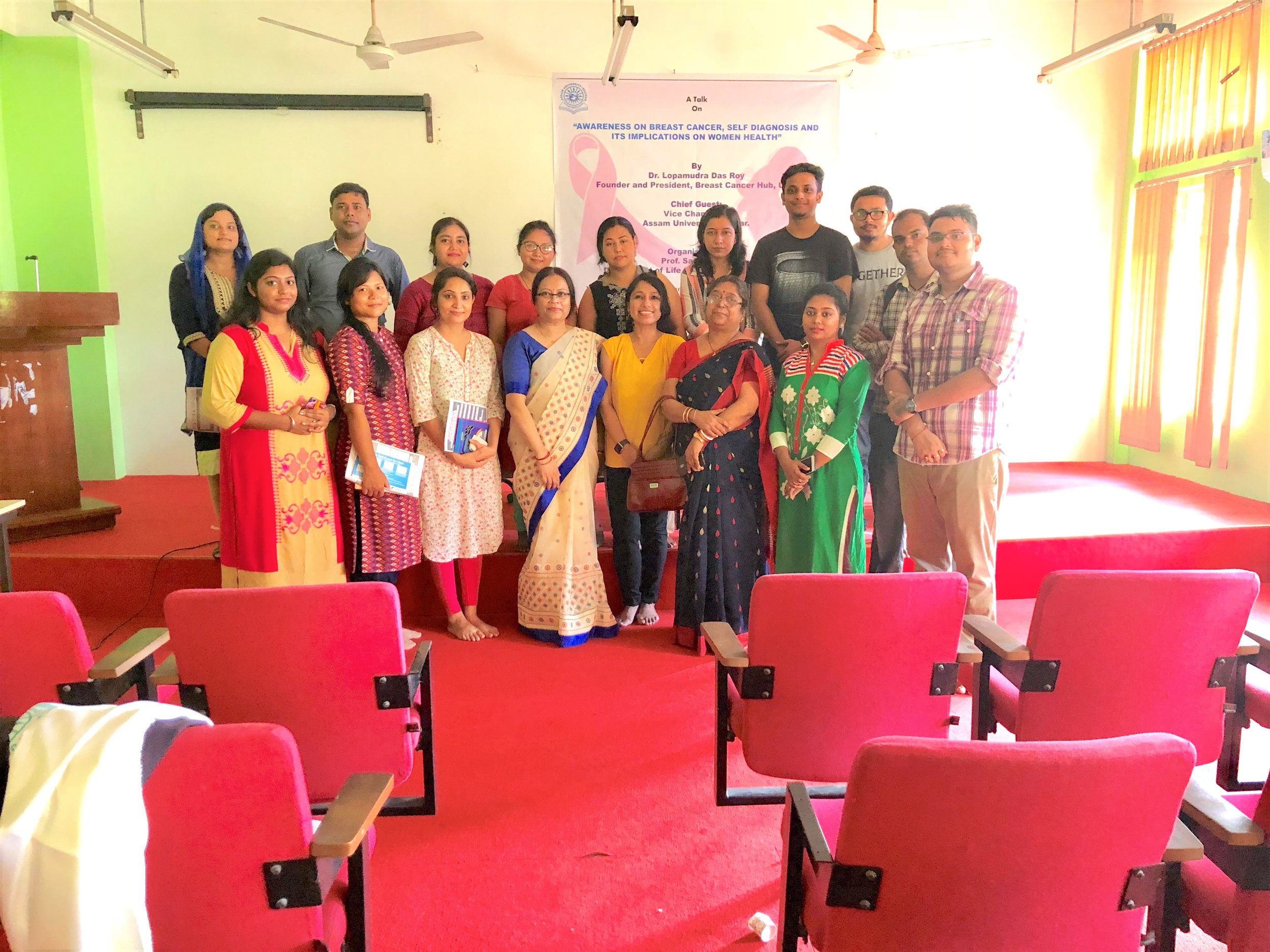 "I was so honored to be invited by my Ph.D mentor, Professor. Sarbani Giri, Department of Life Science & Bioinformatics to give a talk on "" Awareness on Breast Cancer, Self Diagnosis, and its implications on Women Health"". My heartfelt thanks to Dr. Giri for supporting me and the cause and organizing the event.  I was speechless by the Research Scholars of the Department of Life Sciences, who have come forward to collaborate and take the message forward in their own provinces they come from. I am so proud of the young generation and their selfless gesture supporting the cause and coming together….My heartflet thanks to Ms. Malaya Ghosh, Ms. Pimily Langthasa, Ms. Puja Upadhaya, Ms. Sweety Nath Barbhuiya, Mr. Dharmesh Barhoi, Ms. Aparajita Das, Ms. Krishna Bhuiya, Ms. Mandira Lohar, Dr. Supriya Singh, Mr. Indranil Das, Mr. Arabinda Patar, Ms. Nijira Brahma, to name a few."