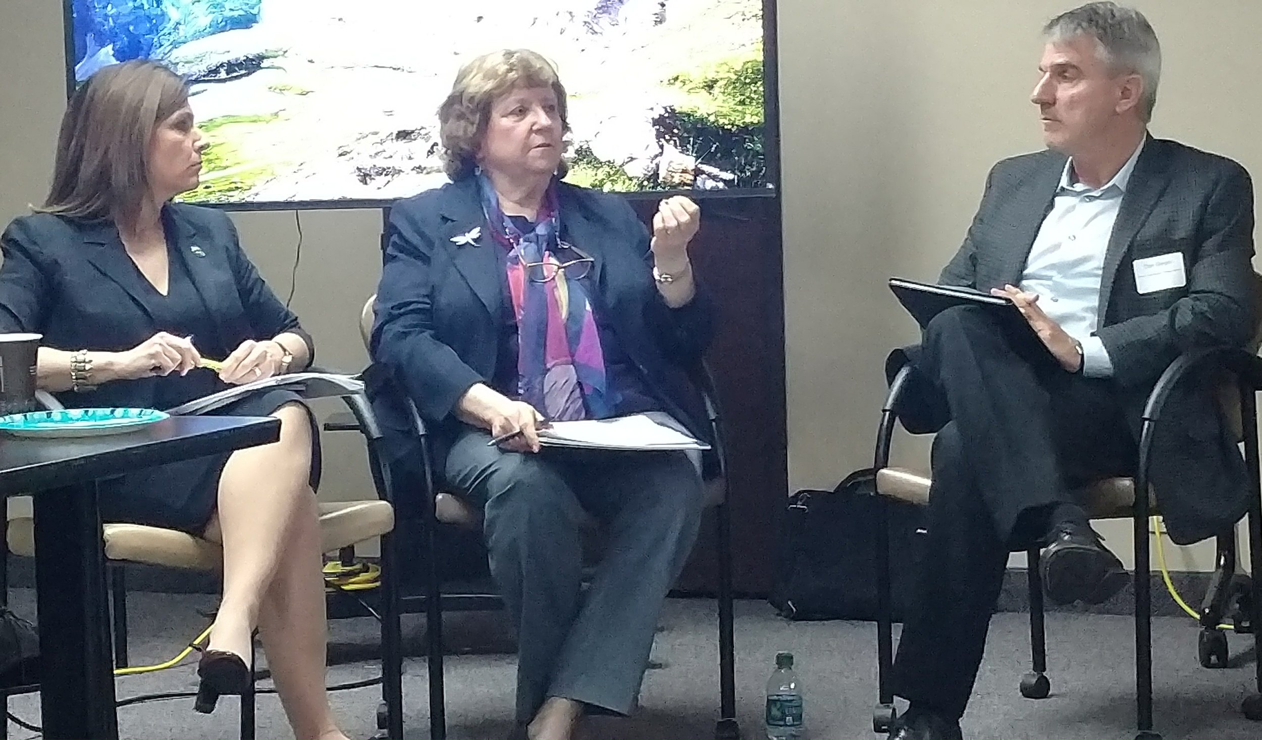 """Anna Roth & Kathy Gallagher - with Coalition Coordinator Dan Geiger, at """"A Conversation about Budgets"""""""