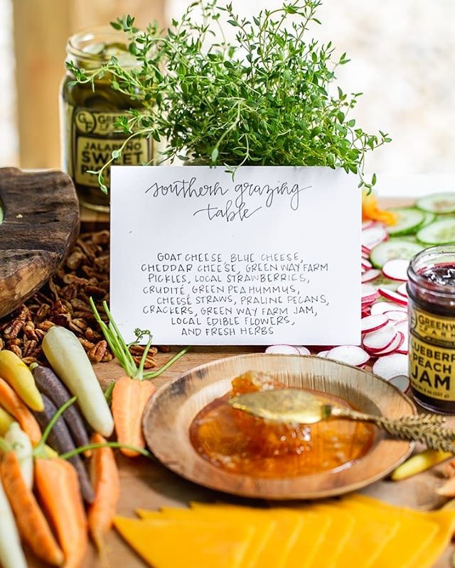 Chef Enita Thomas of @mouthfeelculinaryco created a gorgeous southern styled grazing table featuring local ingredients from @greenwayfarmsofgeorgia with a variety of spicy, sweet, salty and savory flavors. 📸: @natteats ✍🏼: @littlevineletter