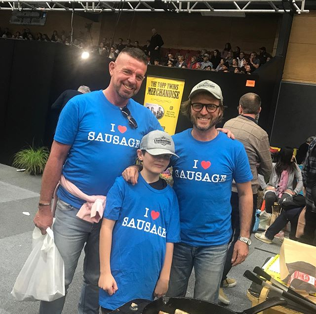 Our chief Tauranga based eleven year old sausage expert, Matthew came to see us again this year, wearing the hat Wade gave him last year.  Gems not happy about this year's tee.... but we are